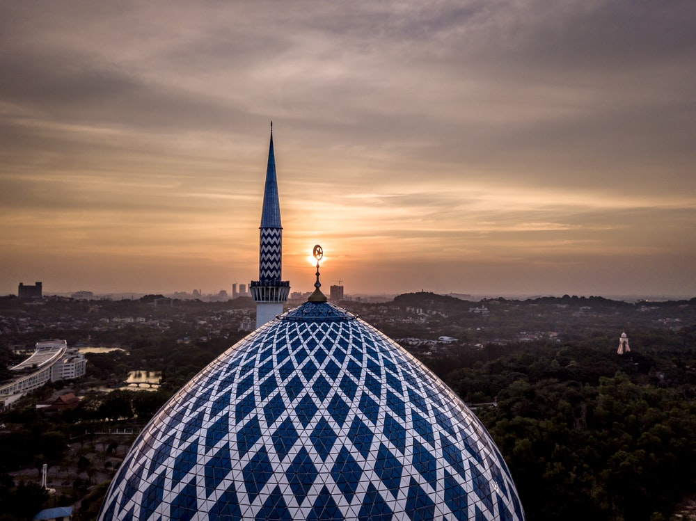 high angle photo of blue and white dome building