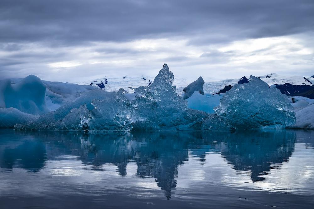 cloudy sky above glacier