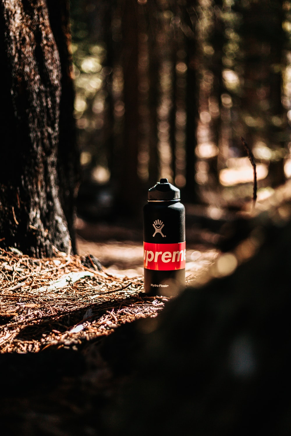 black and white Supreme sports bottle on the ground near tree