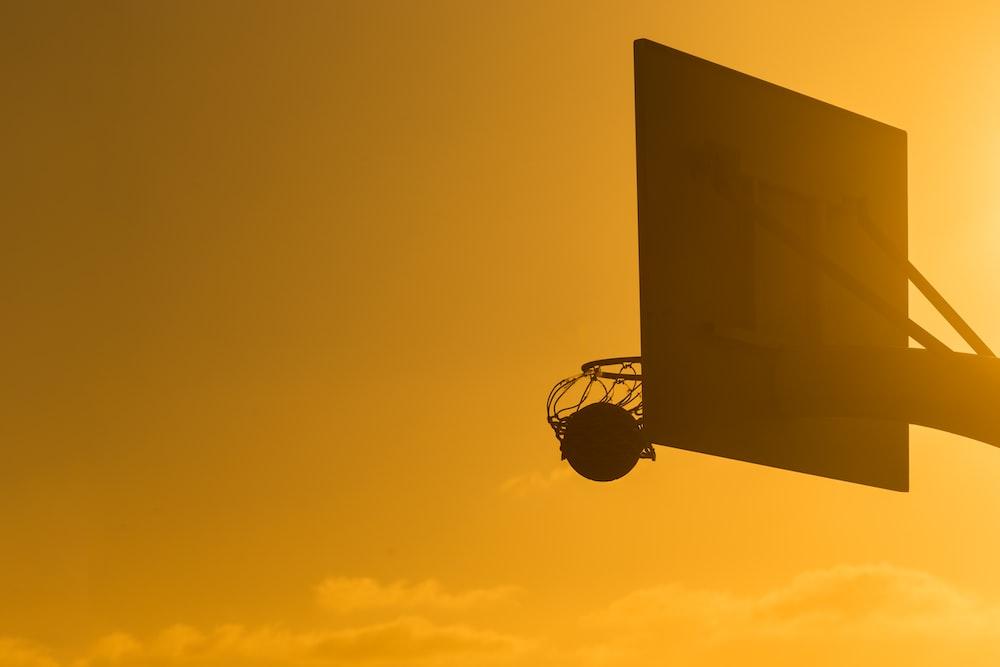 basketball on basketball ring