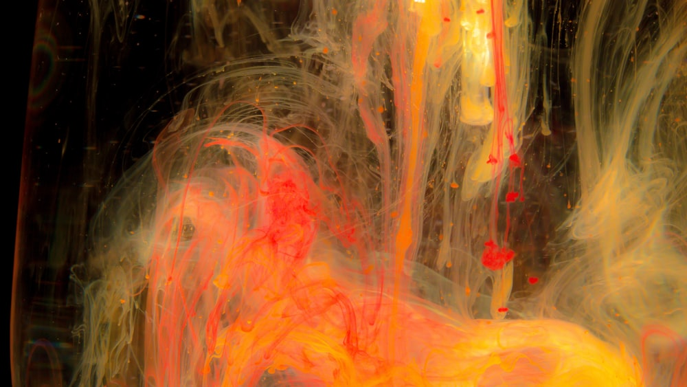 pink, orange, and yellow abstract painting