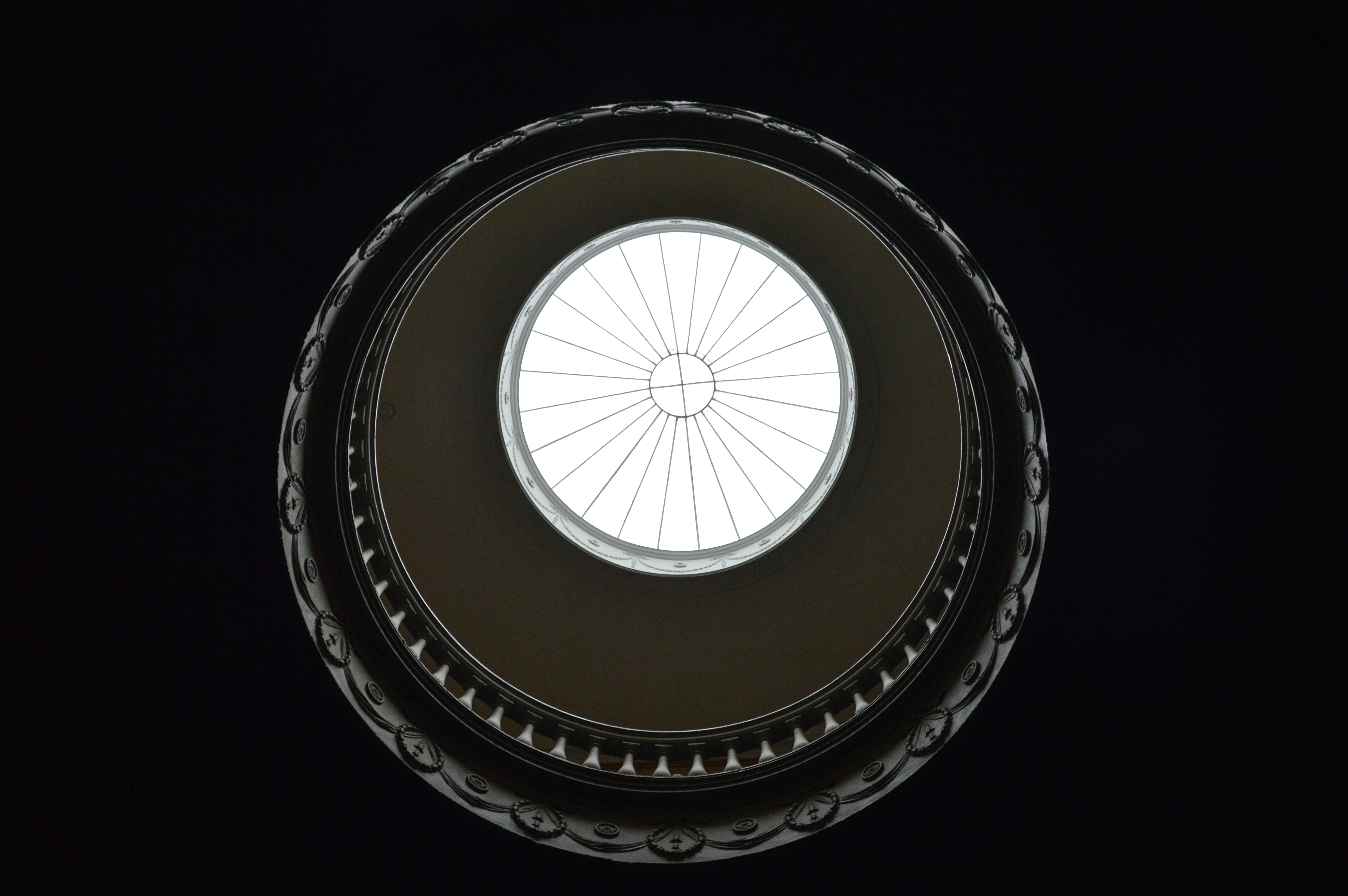 high angle view photography of dome ceiling window during day time