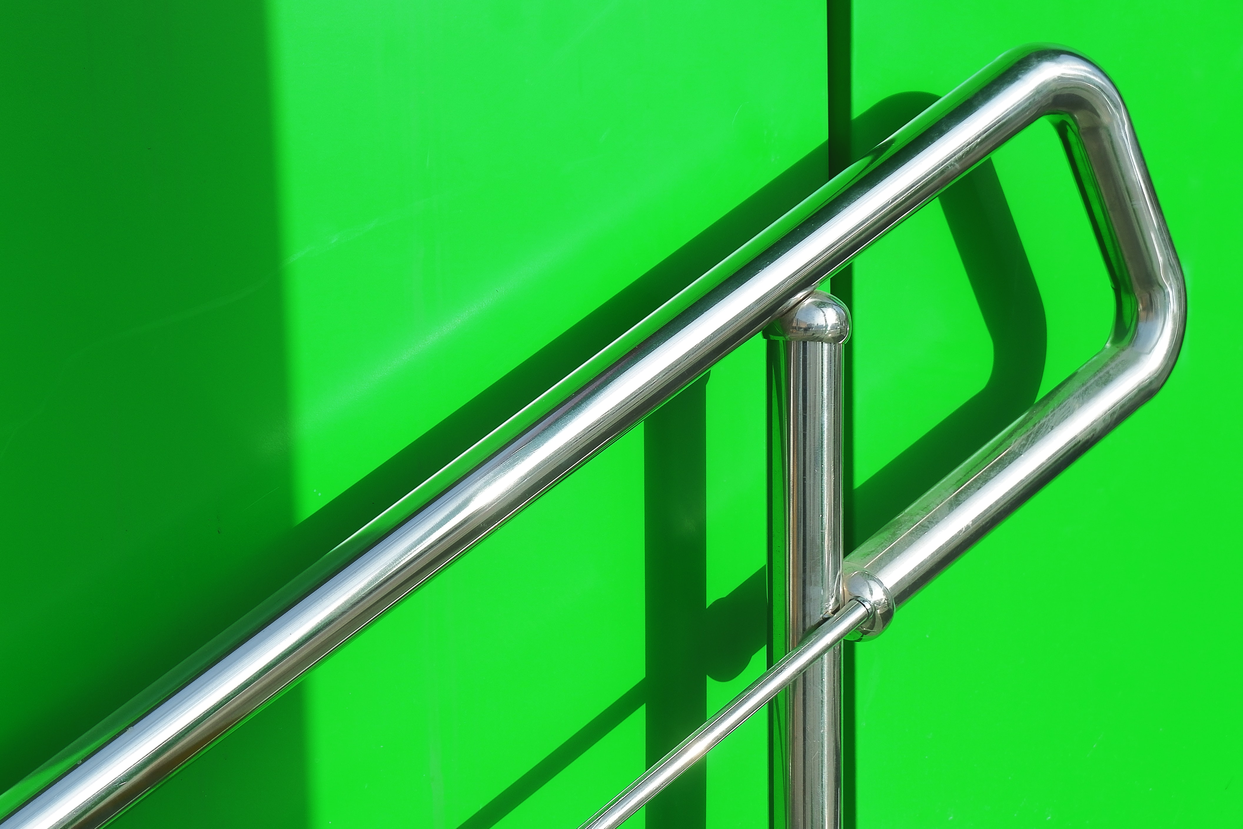 gray steel handrail