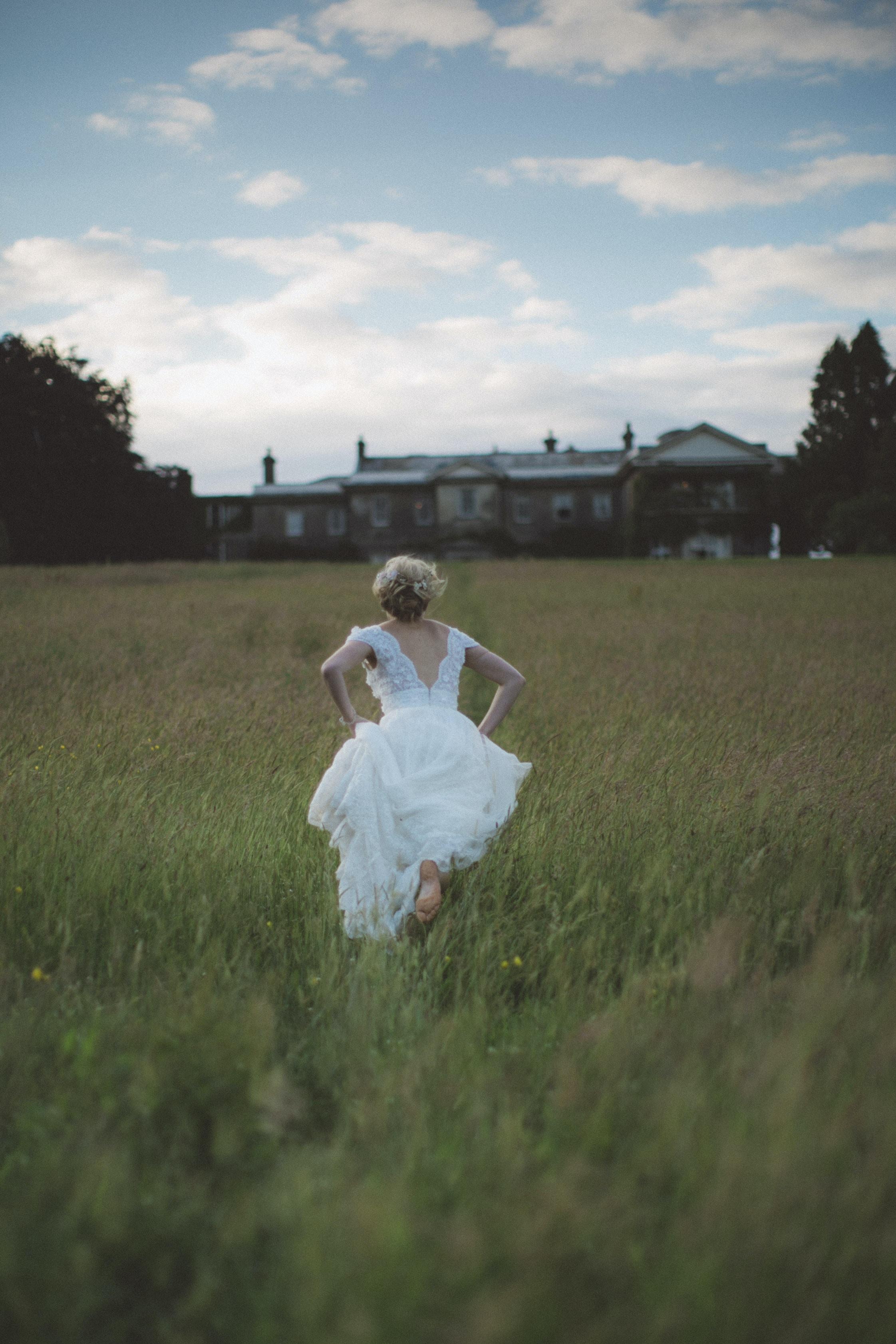 woman running on field
