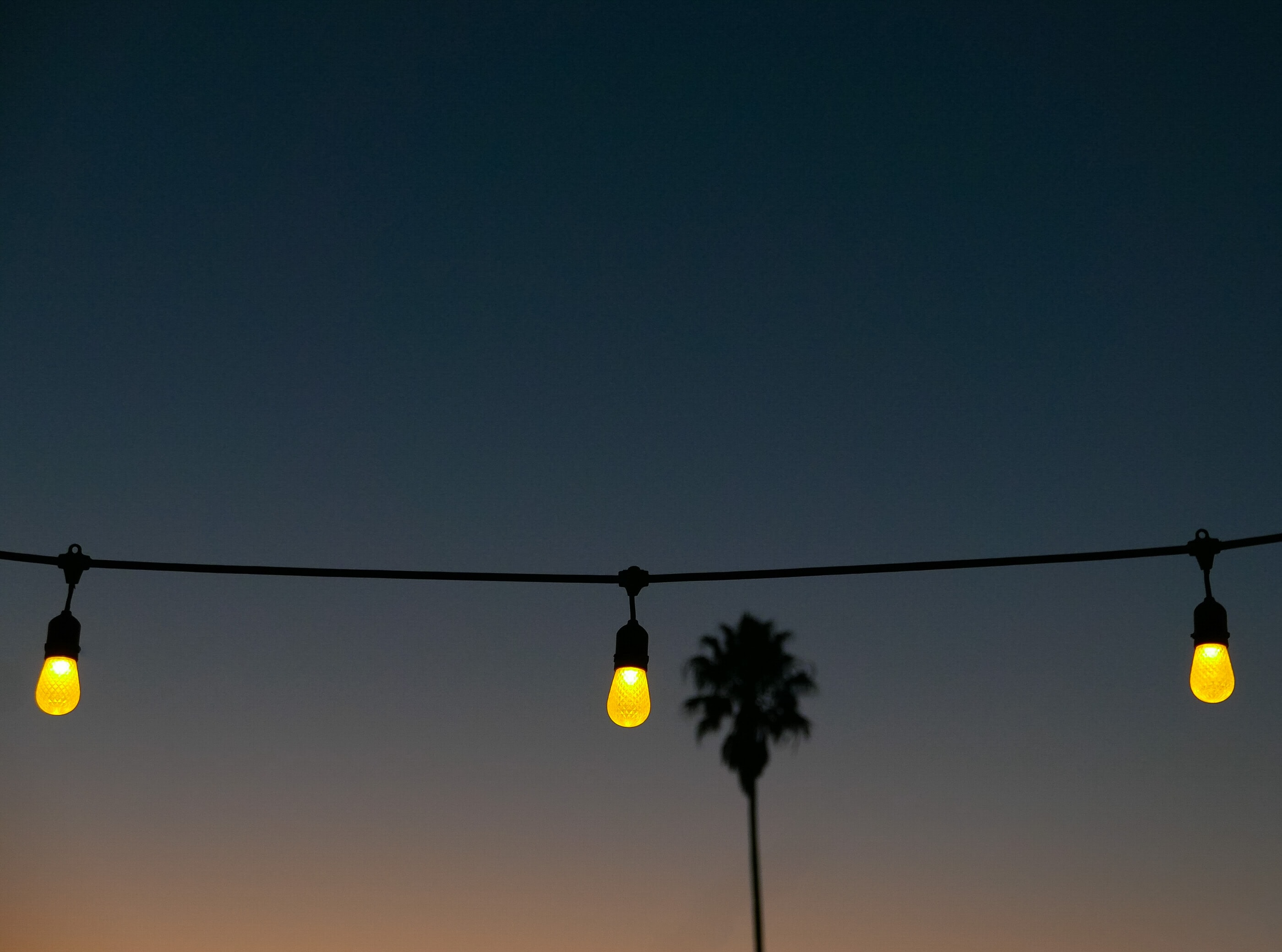 yellow string lights at nigh time