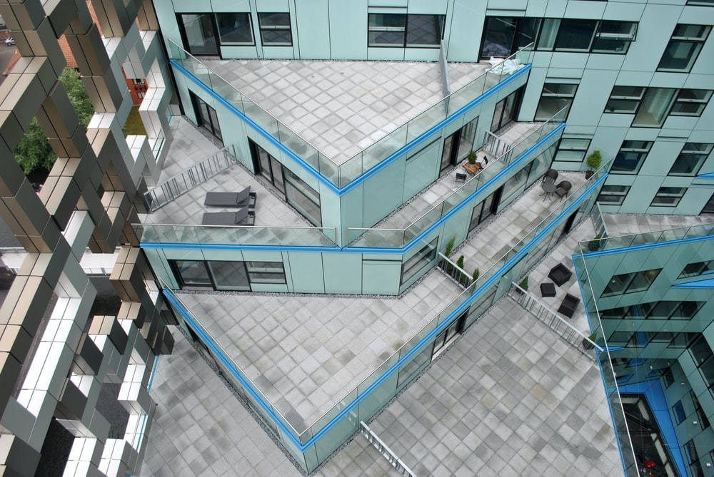 high angle photography of a building's rooftop