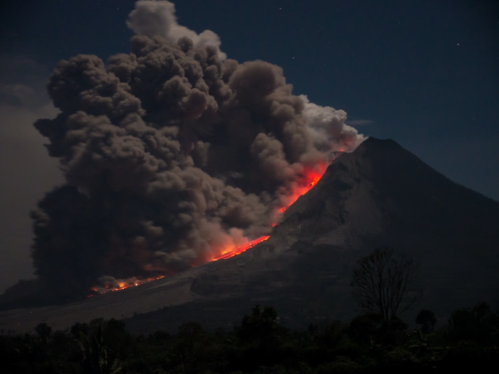 erupting volcano