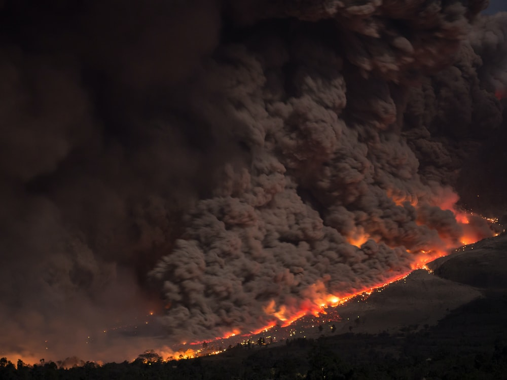 aerial photo of wild fire
