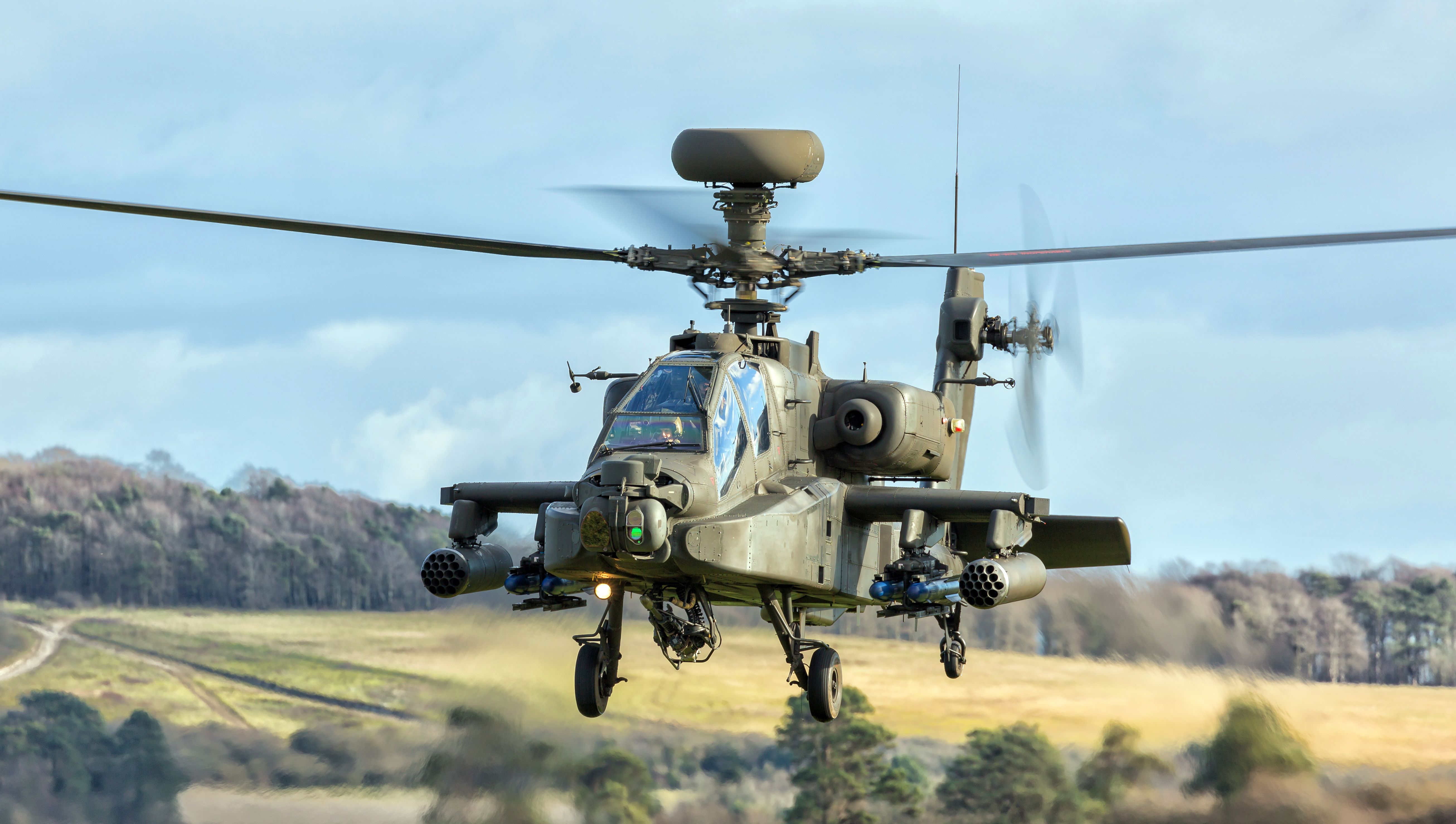 """Apache Longbow helicopter on a training sortie"""