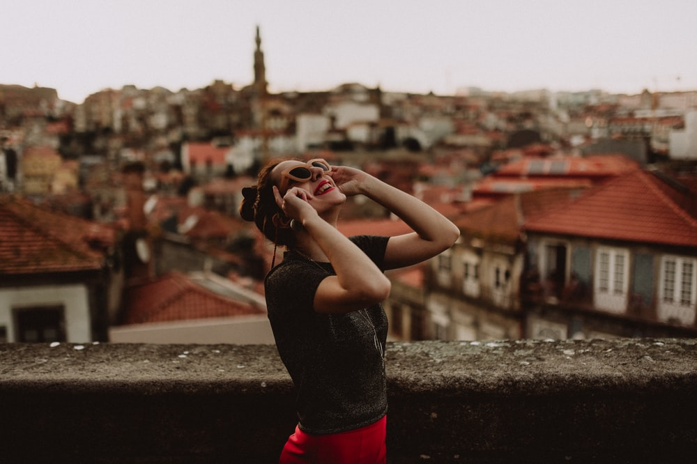 shallow focus photography of woman staring on sky