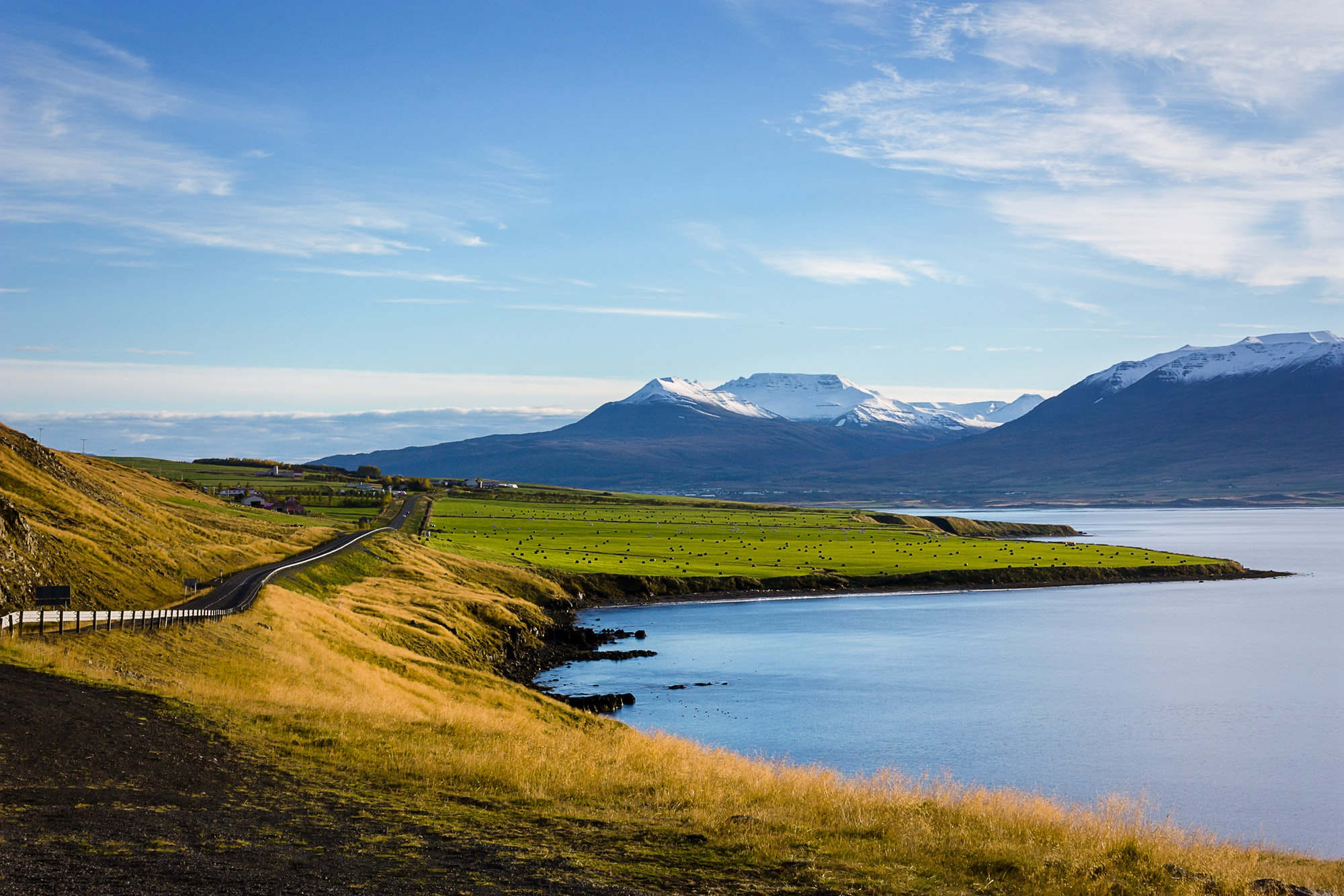 This is the main highway circling Iceland's majestic beauty. The snow-capped mountains are a welcome site as you drive towards the island's second most-populated city, Akureyi.