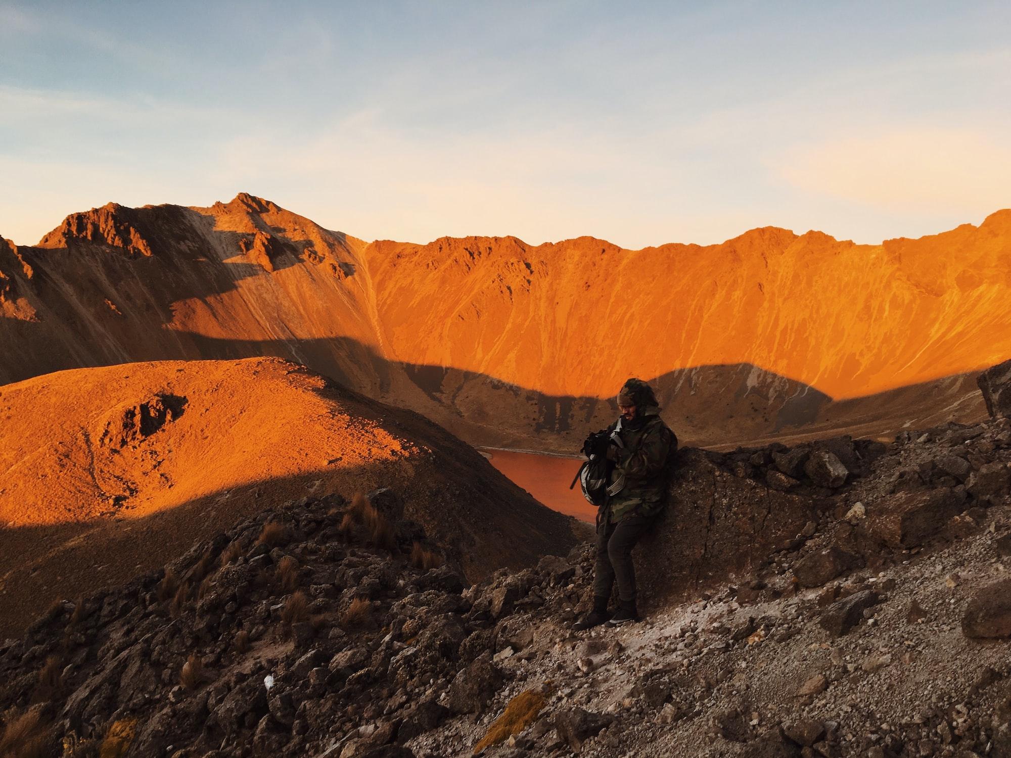 Morning sunshine volcano