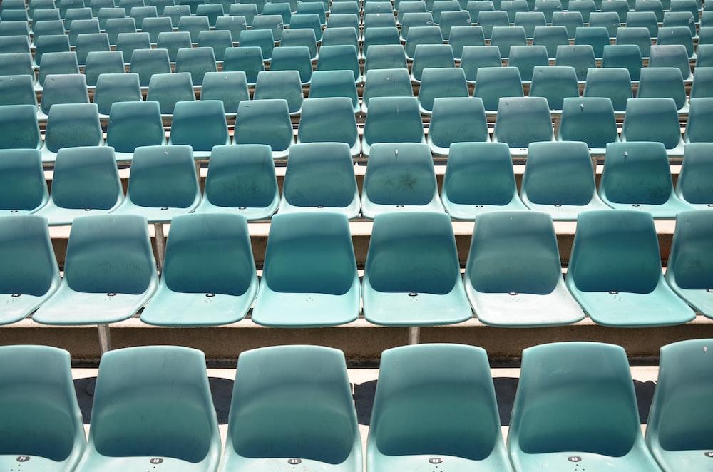 photo of teal stadium seats
