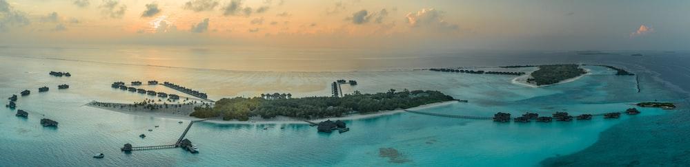 bird's eye view of island with resort