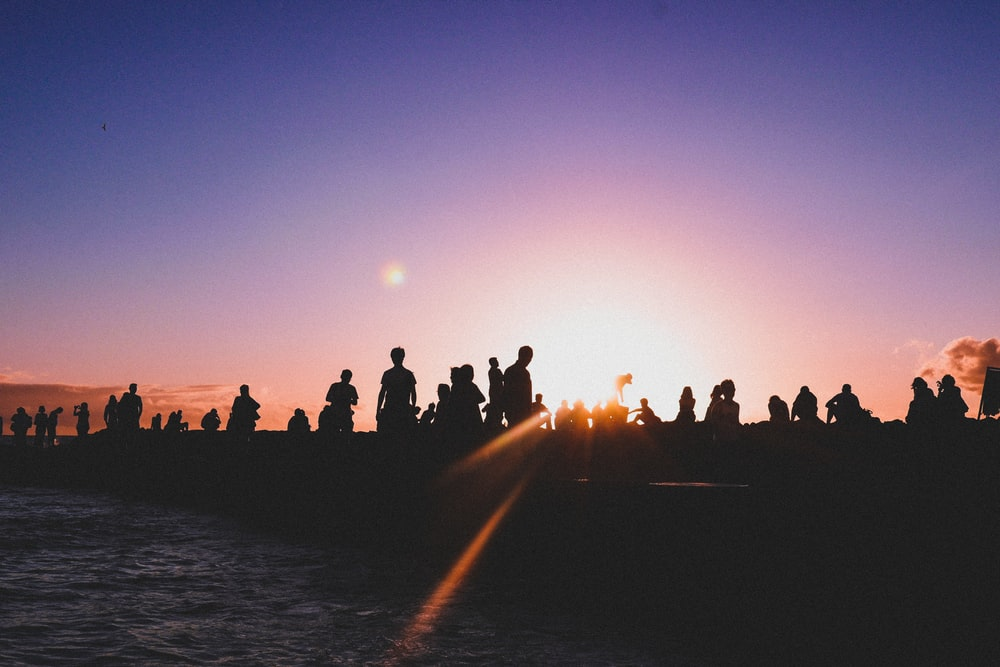 silhouette of group of person under clear skies