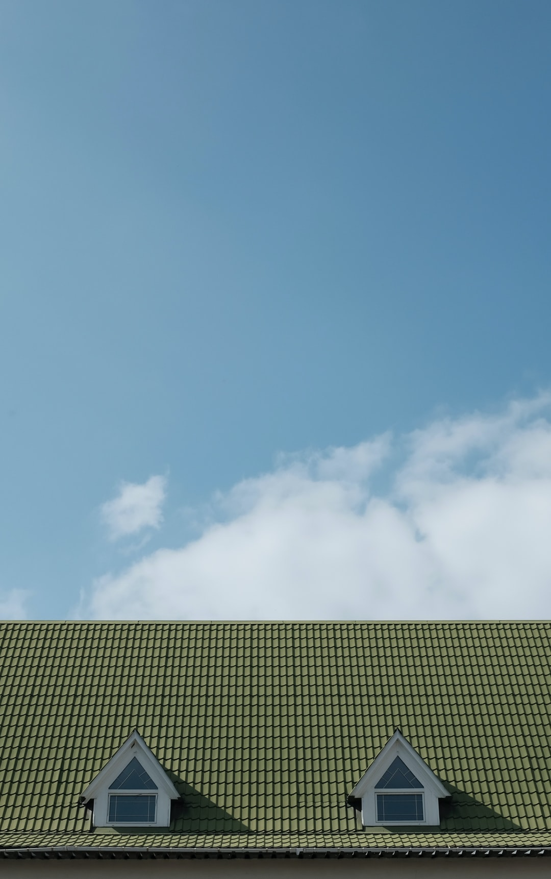 green roof with the blue sky