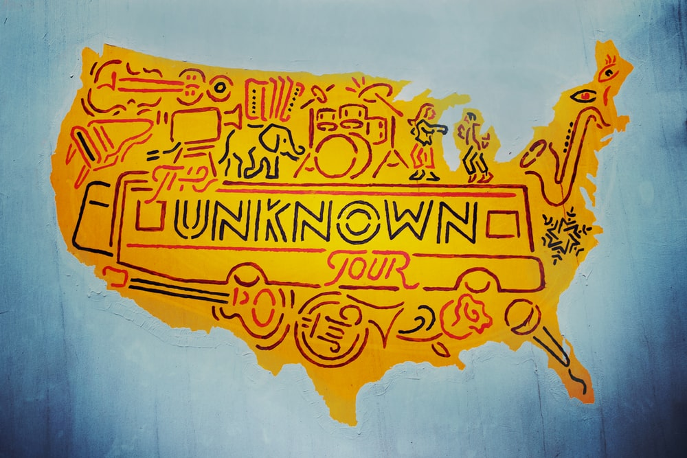 orange The Unknown Tour USA map illustration