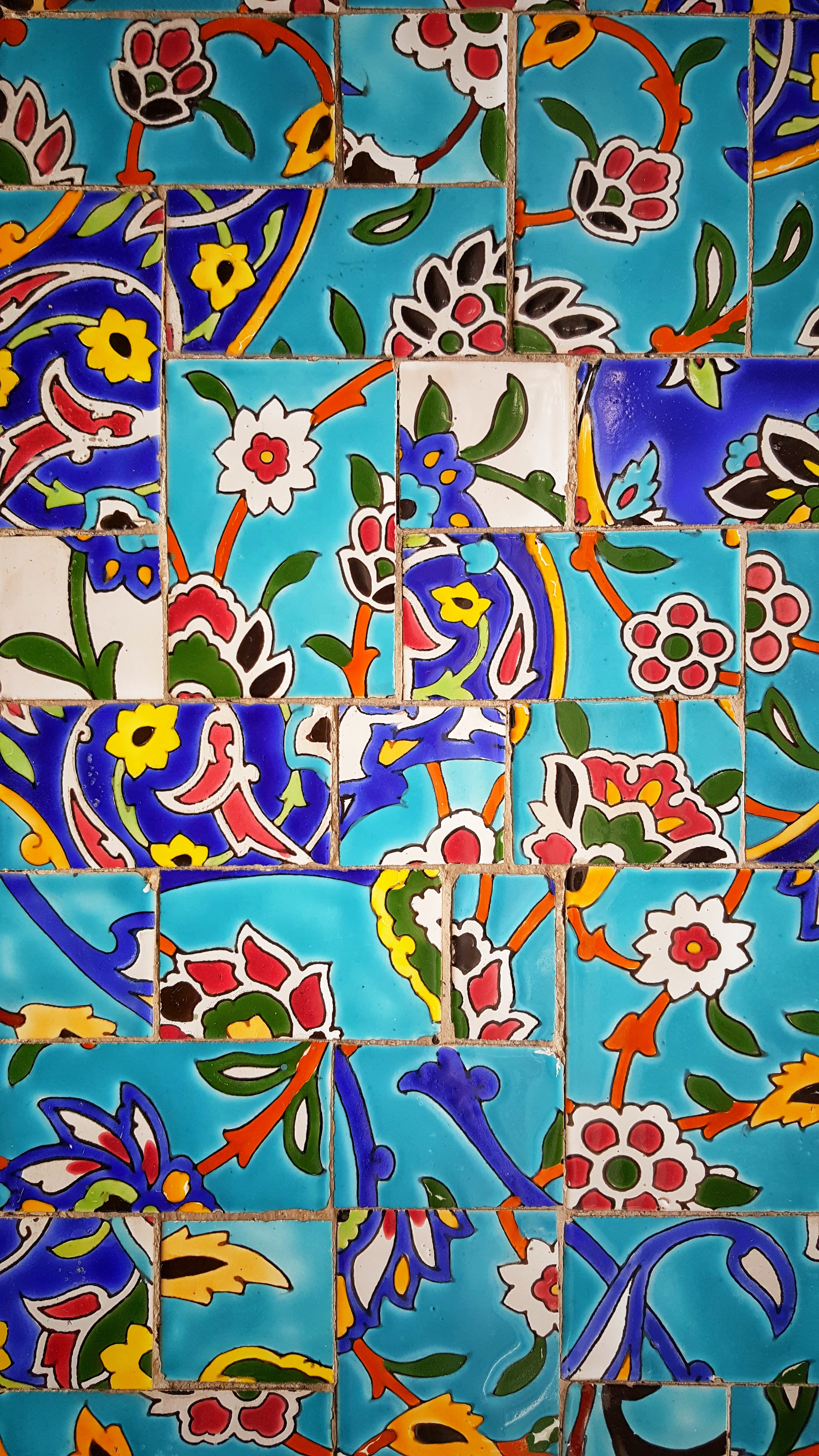 multicolored floral tiles