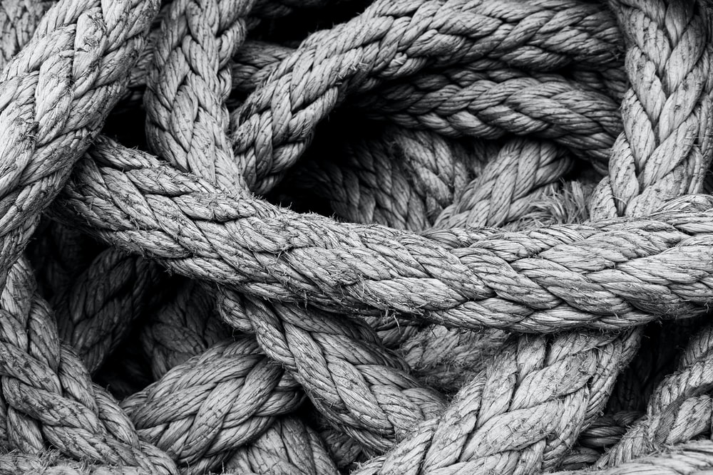 grayscale photo of rope