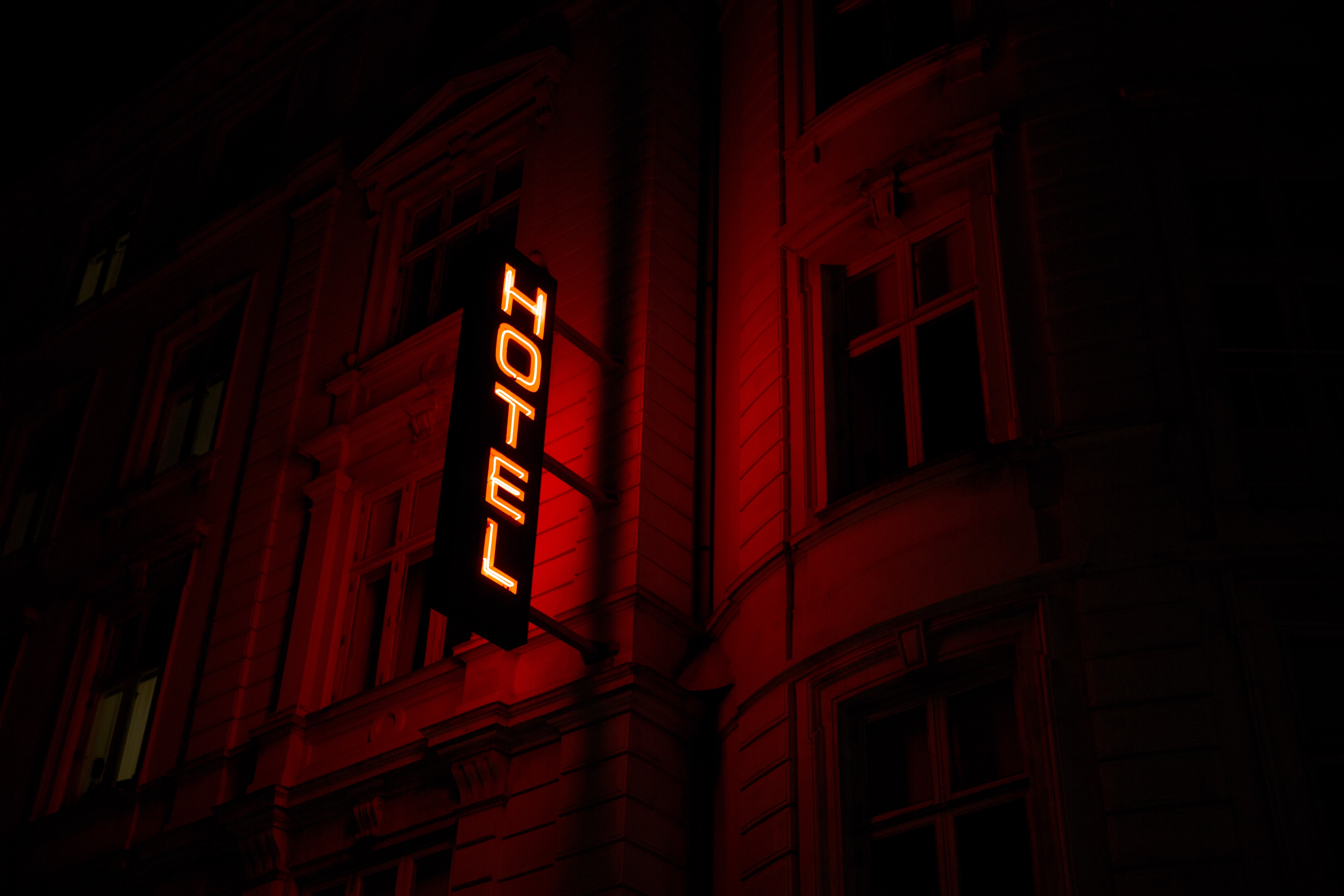 red hotel signage