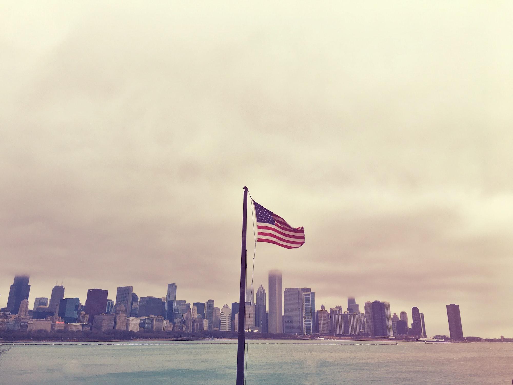 American flag & Chicago Skyline from Planetarium