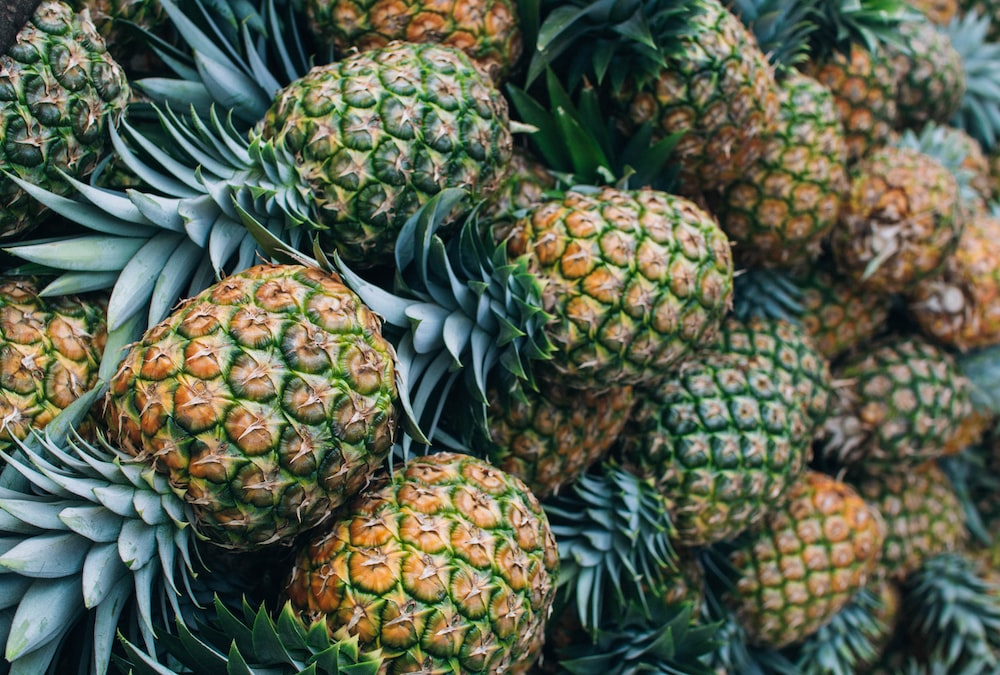 close-up photo of pineapple fruits