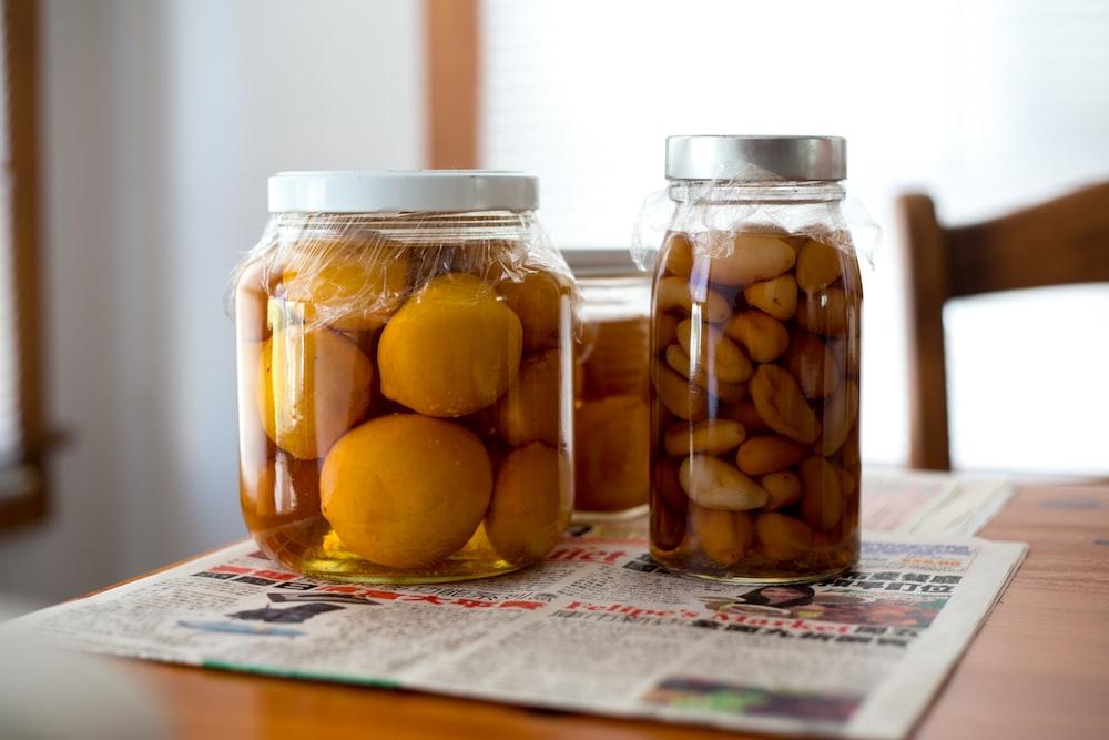 three pickles jars