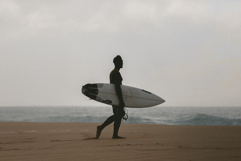 man walking on beach shore