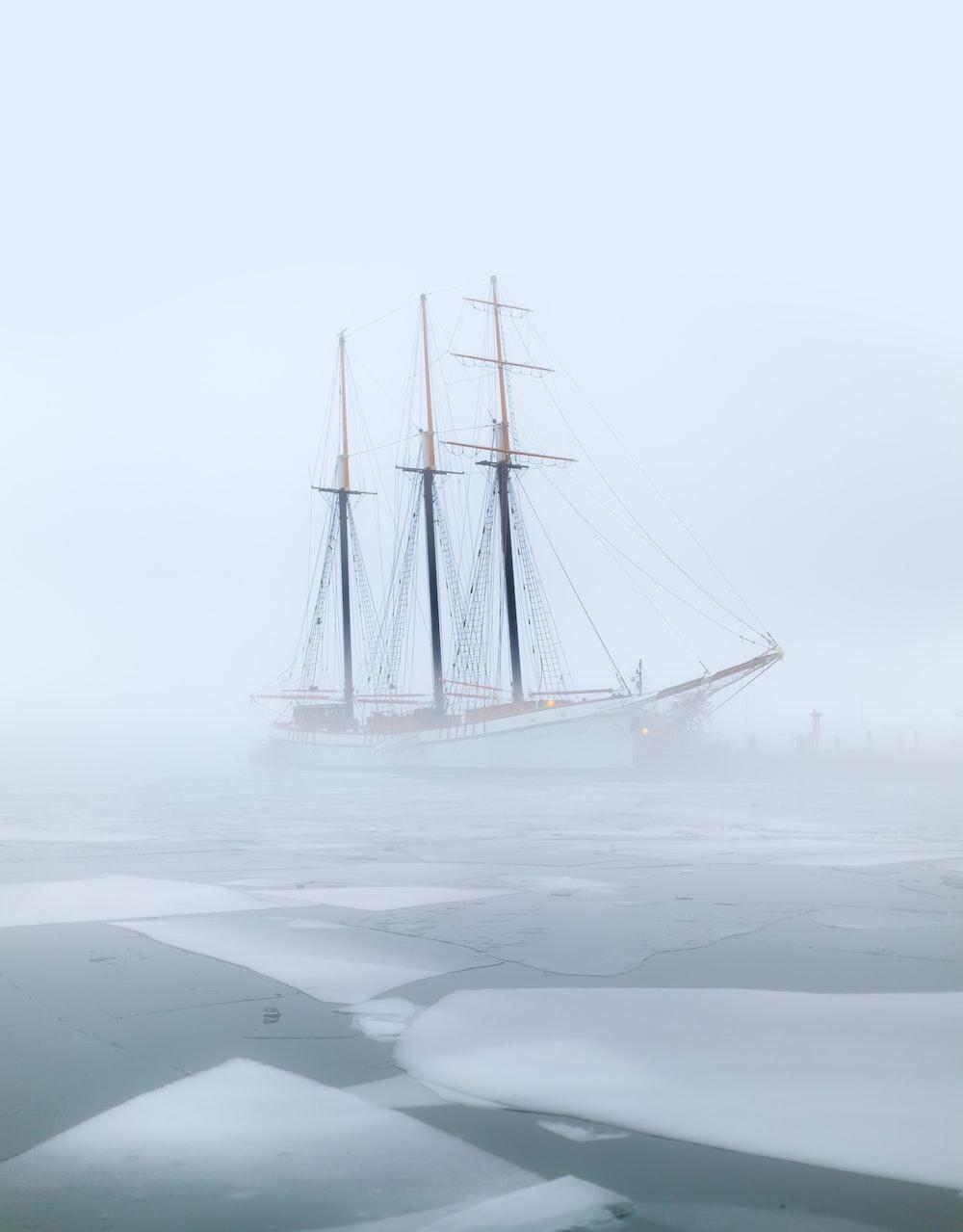 white ship painting