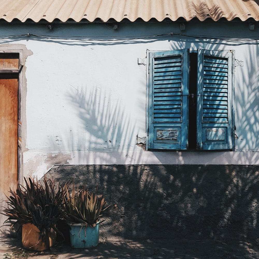 opened blue louvered windows