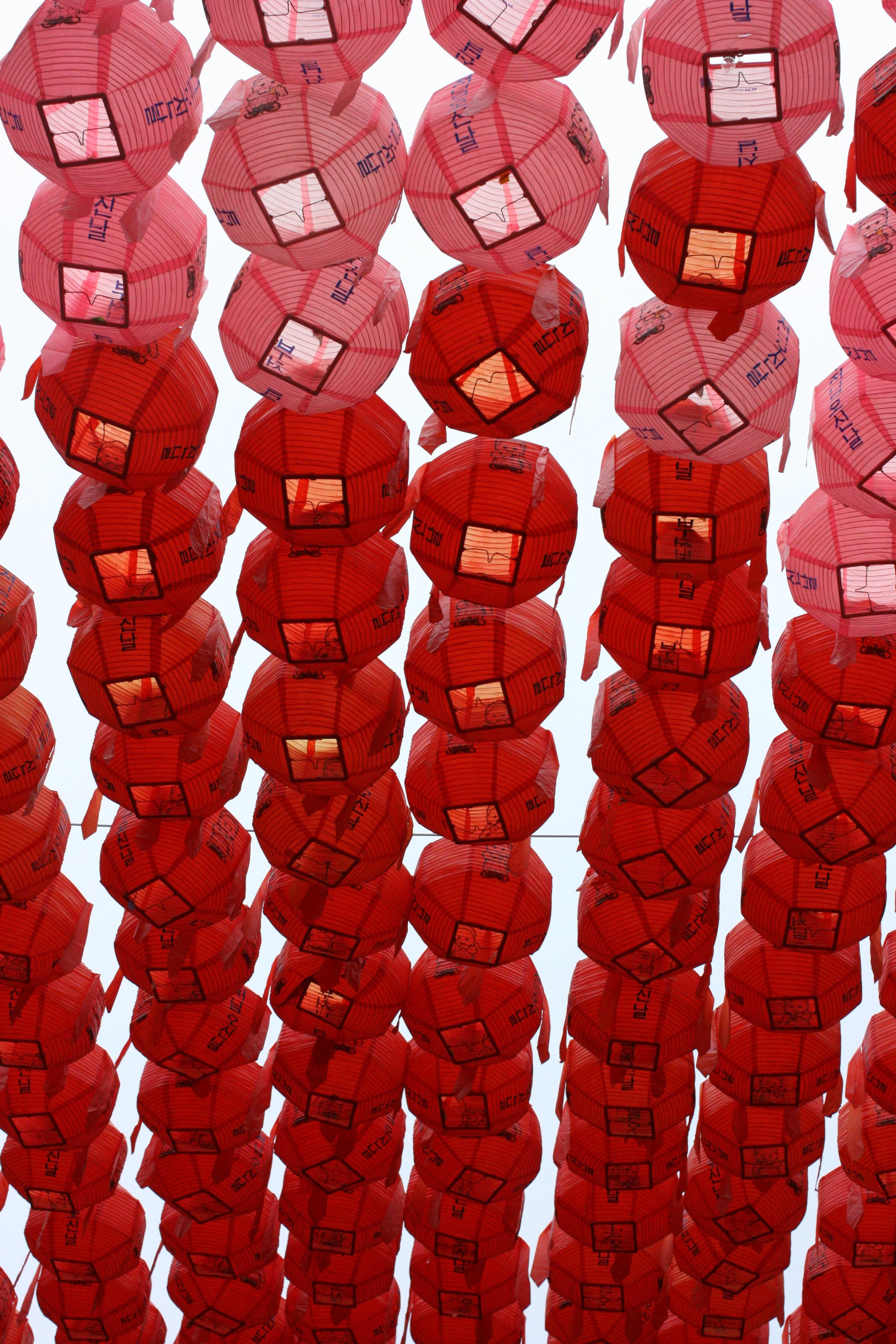 red paper lantern lot during daytime