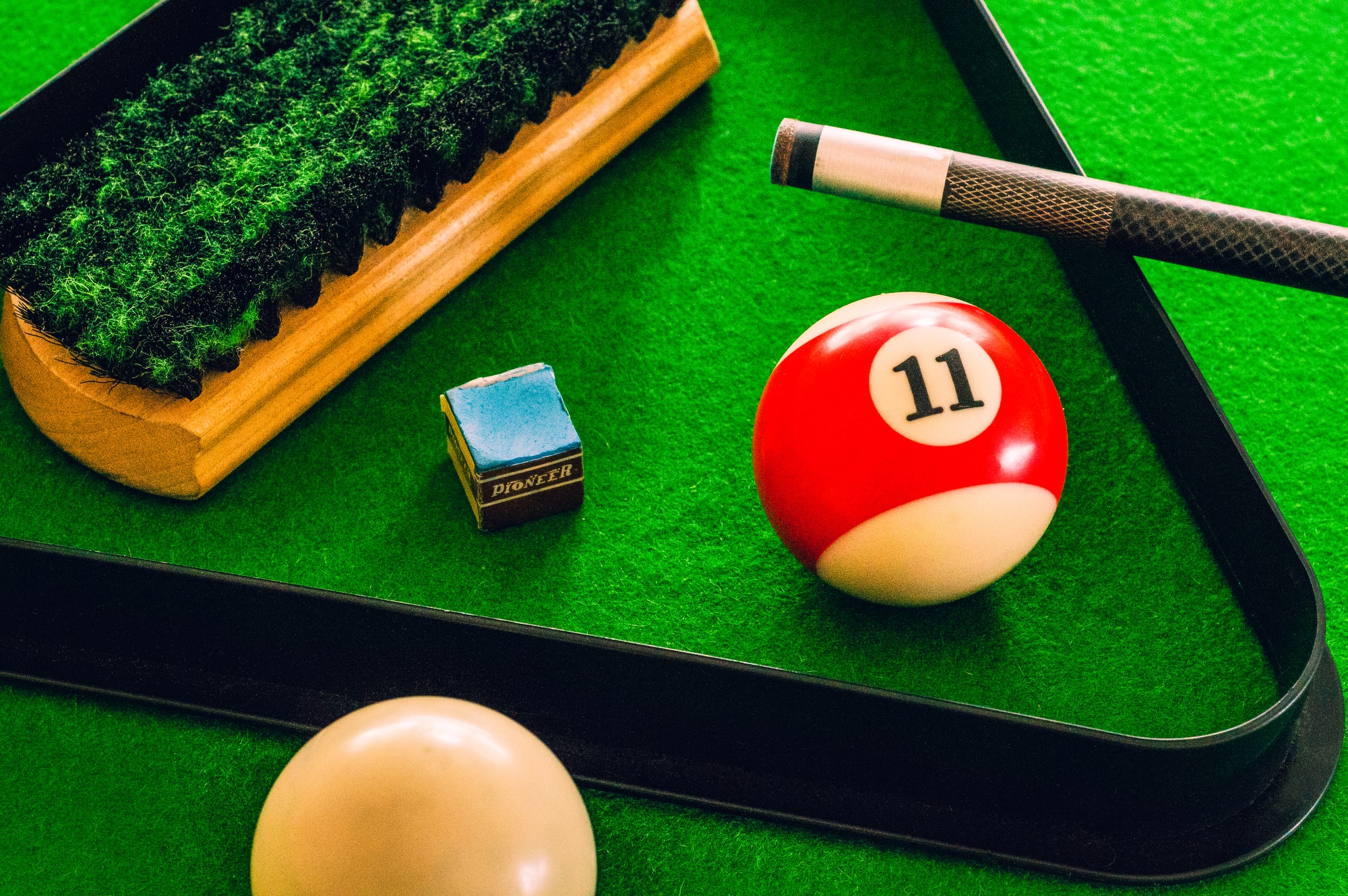 An assortment of billiards items in a single image.