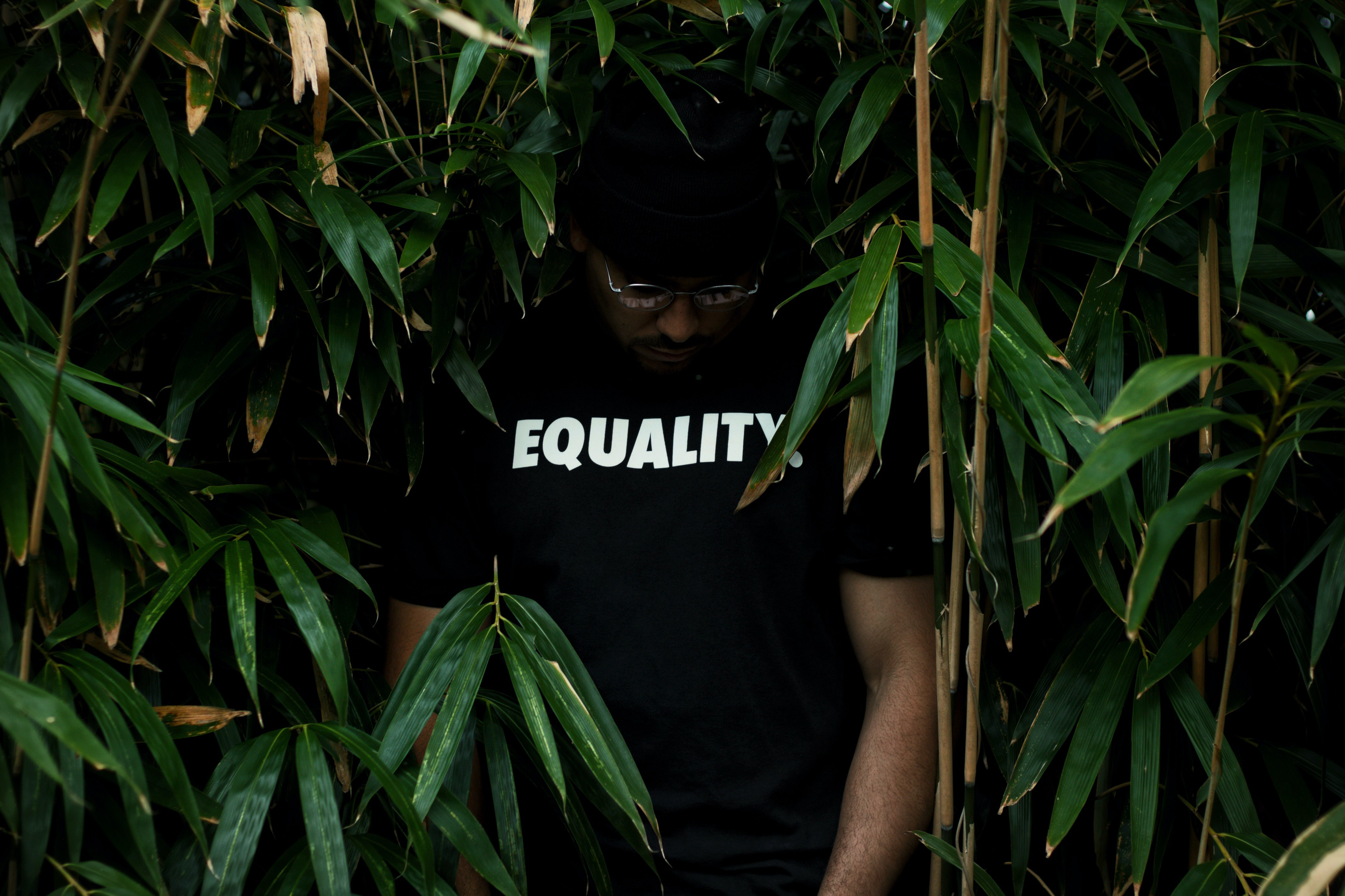 man in black crew-neck T-shirt in green leafed plant