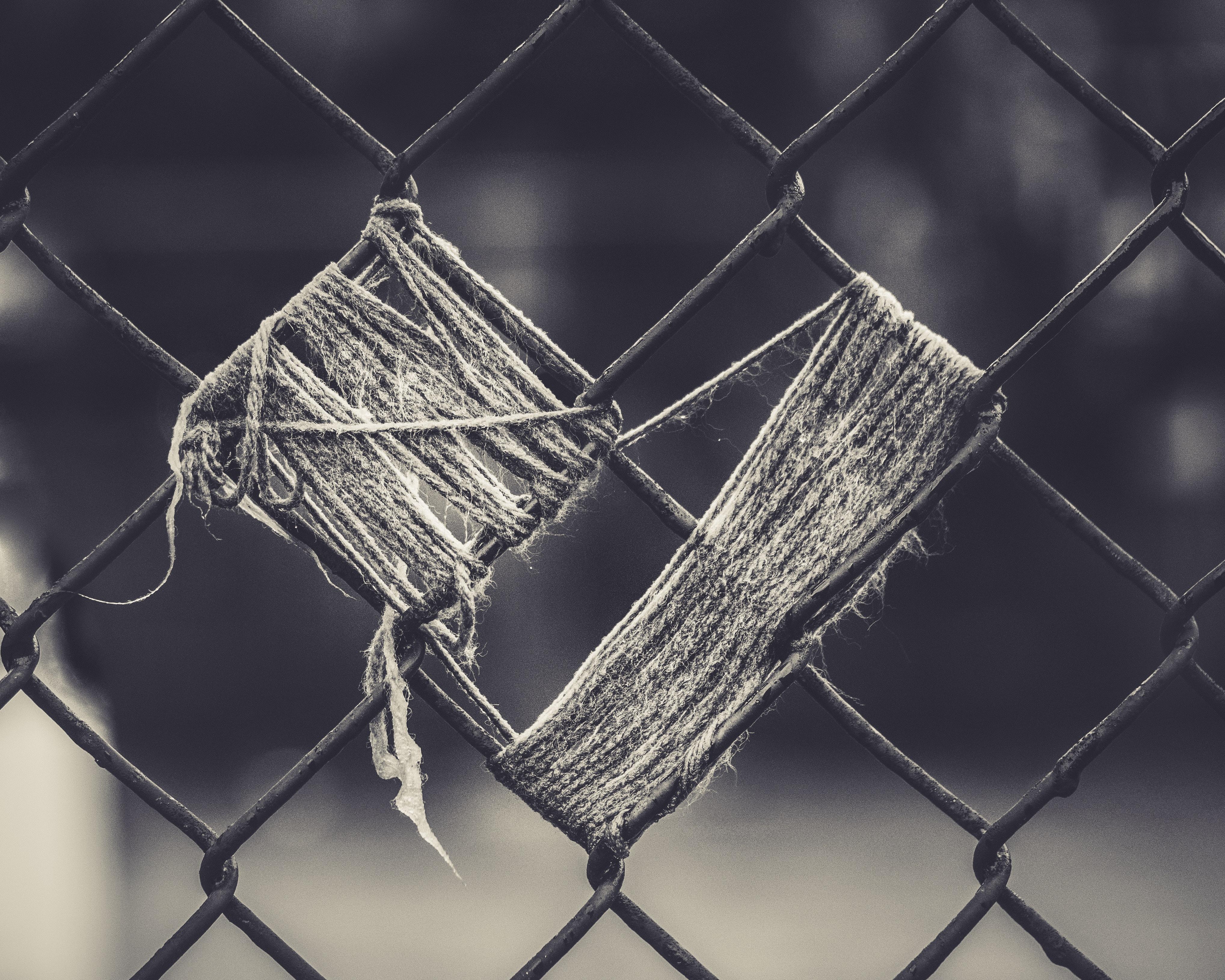yarn on fence