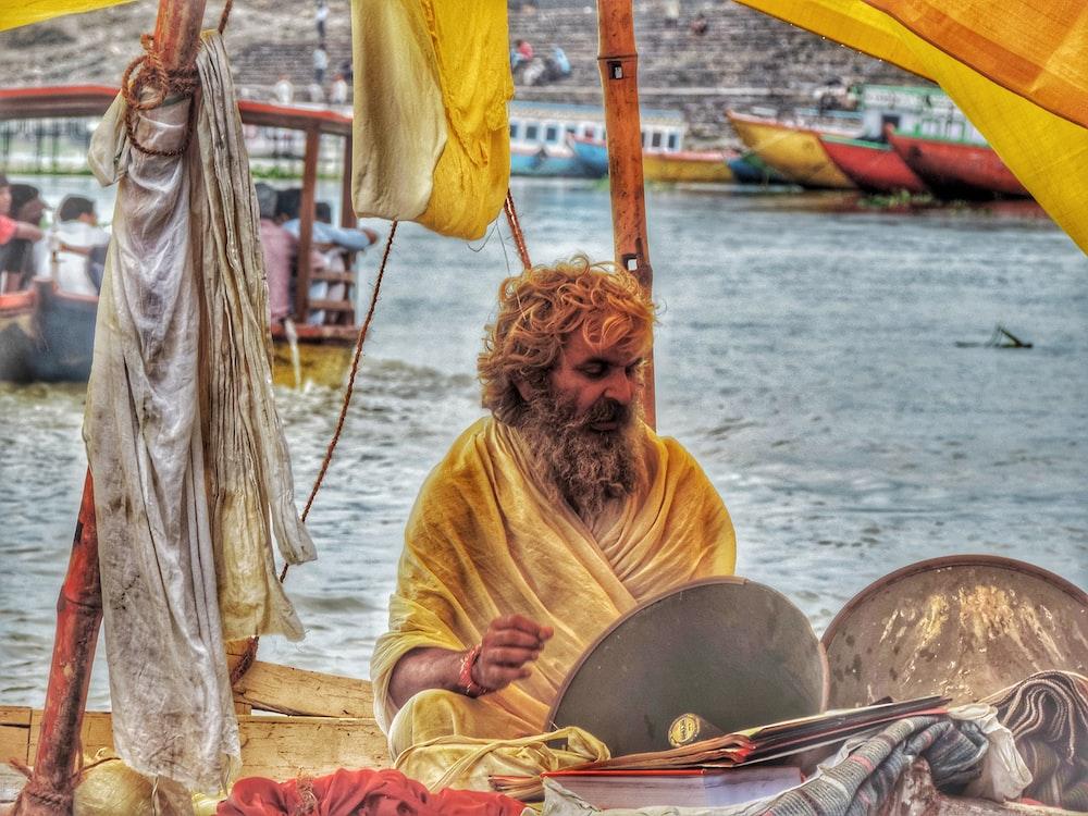 men's yellow traditional dress