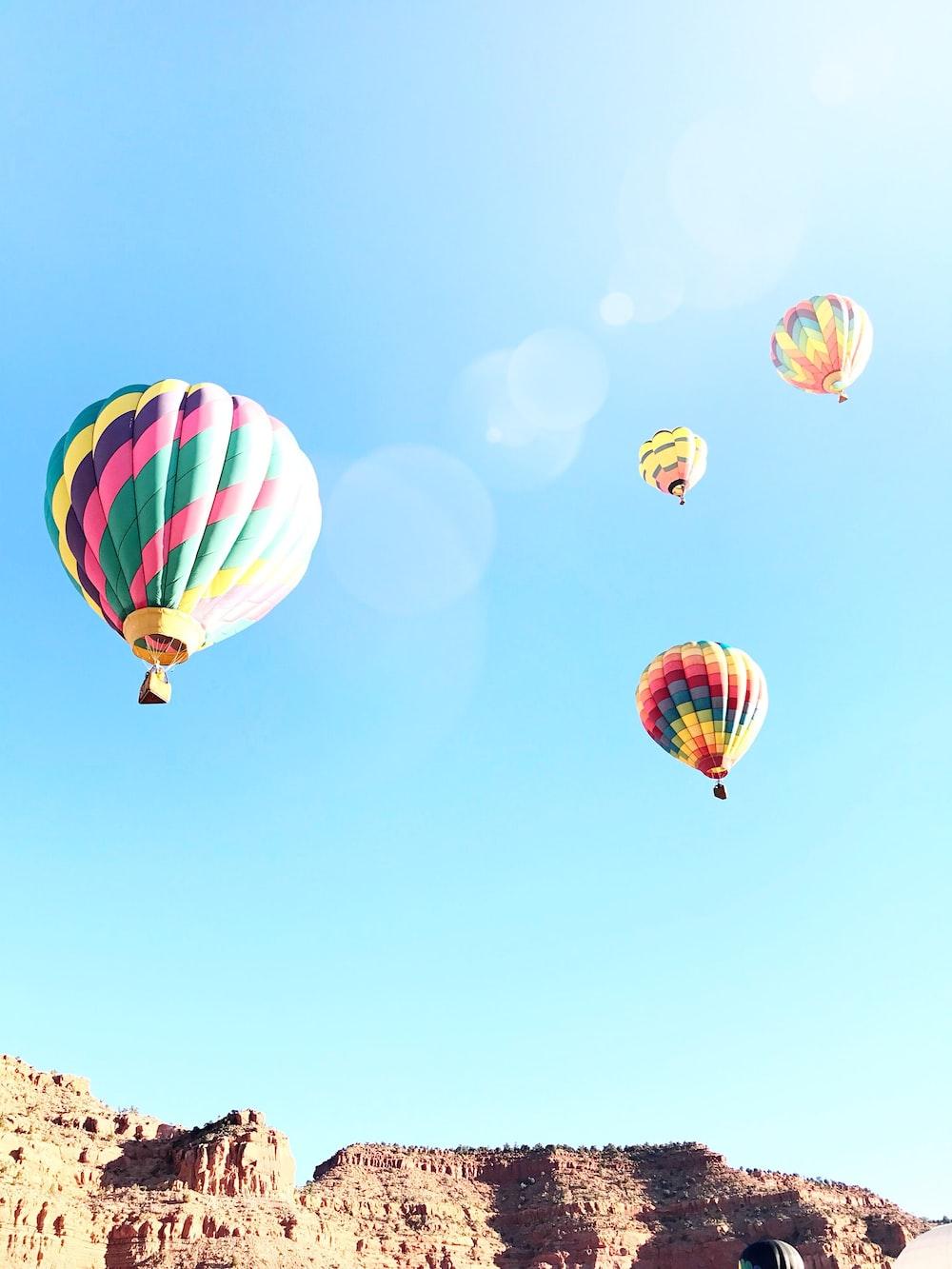 four hot air balloons