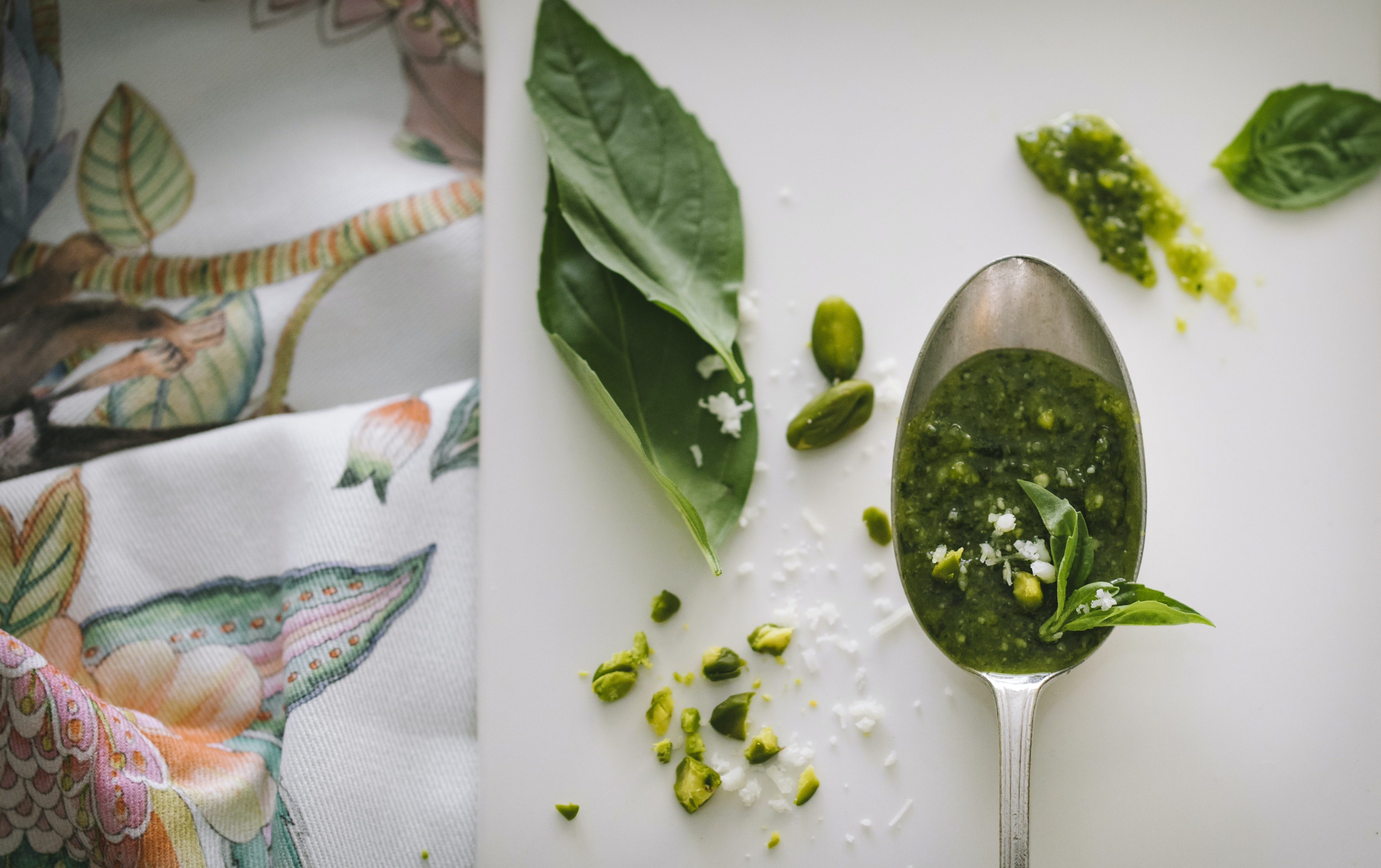 green leaves and gray spoon