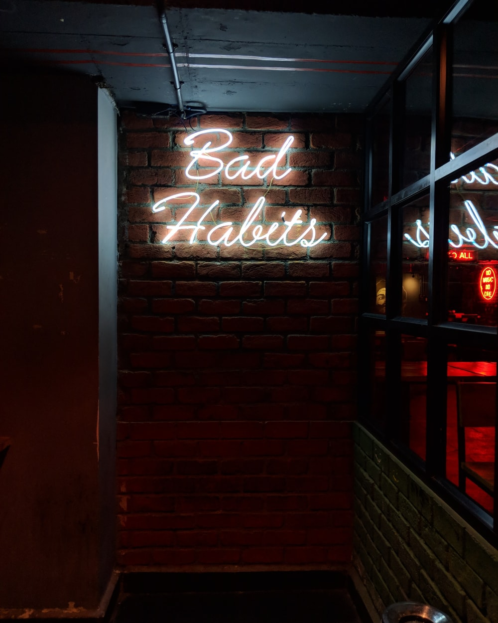 white bad habits LED signage
