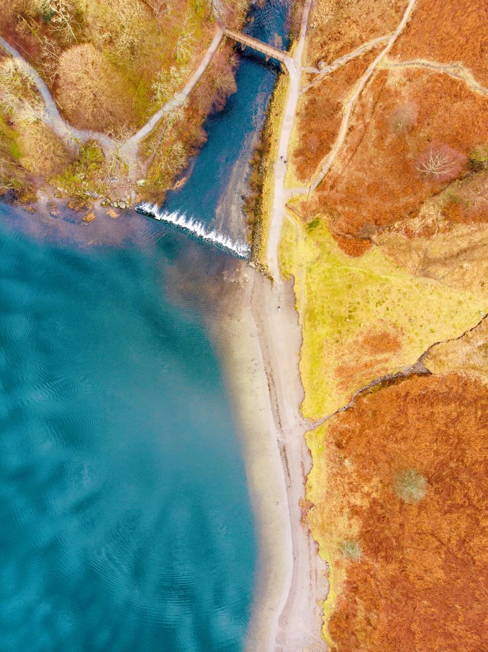 birds eye photography of waterfalls