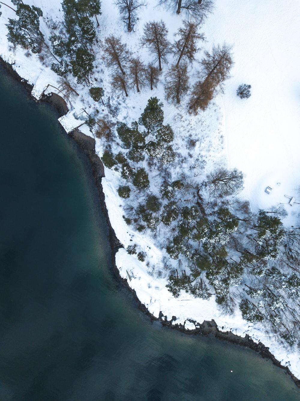 aerial photography of sea near snowy island