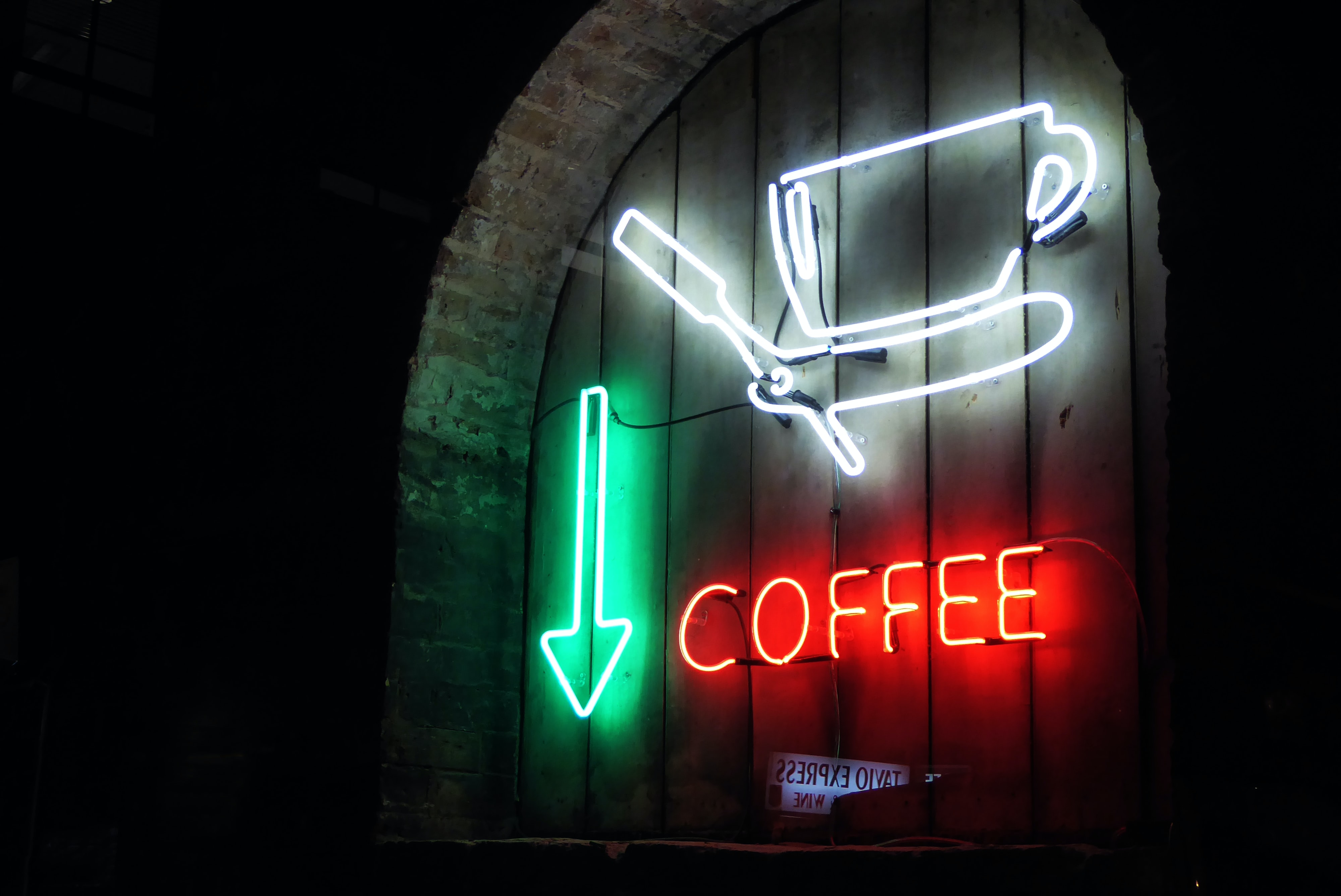 white, green, and red coffee neon signage