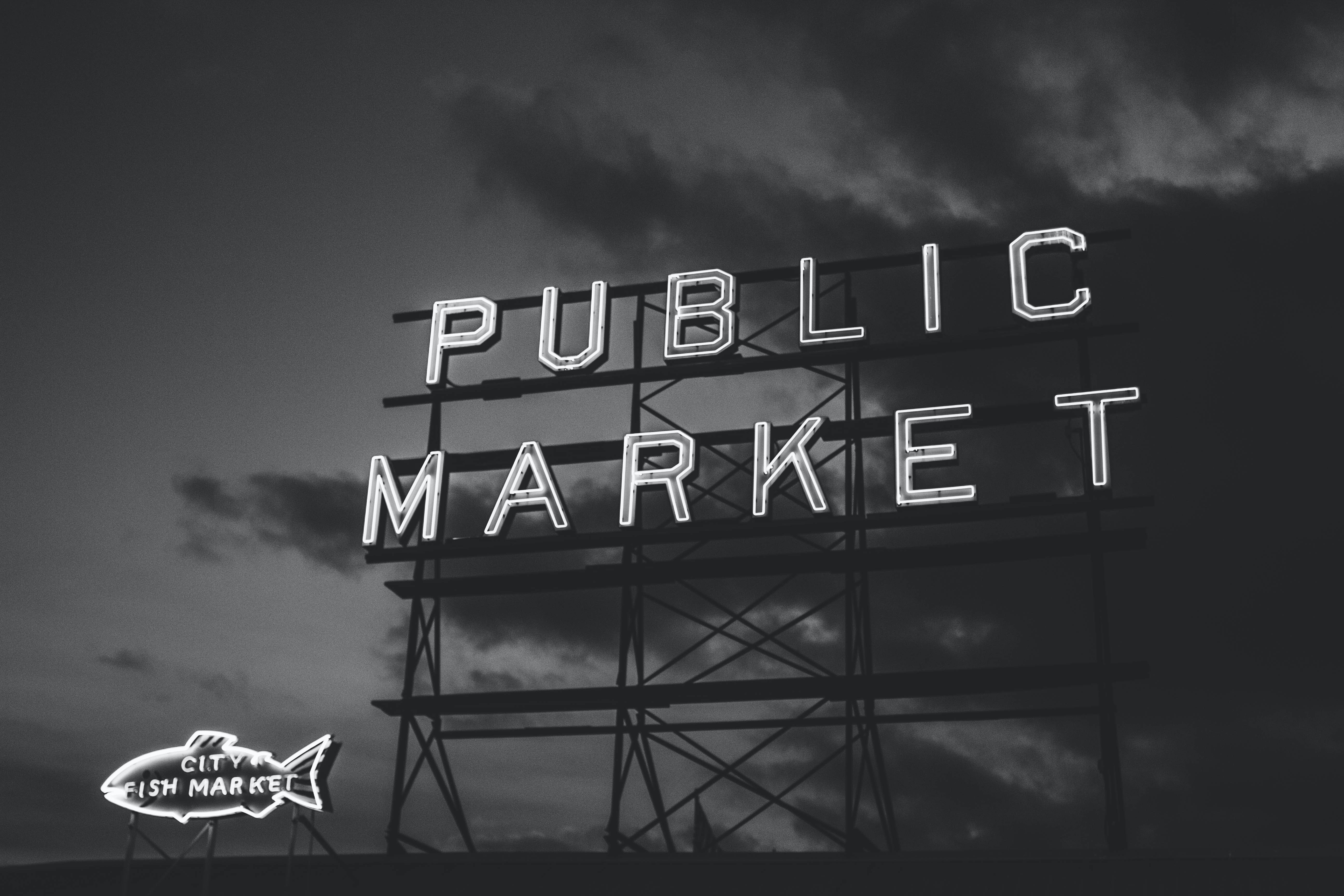 grayscale photography of Public Market neon signage