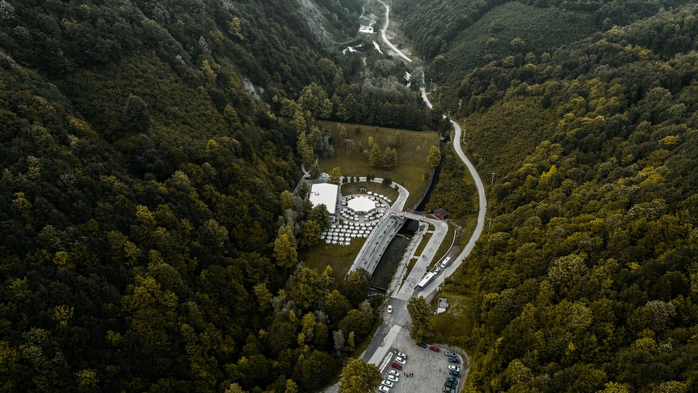 aerial photography of buildings between forest