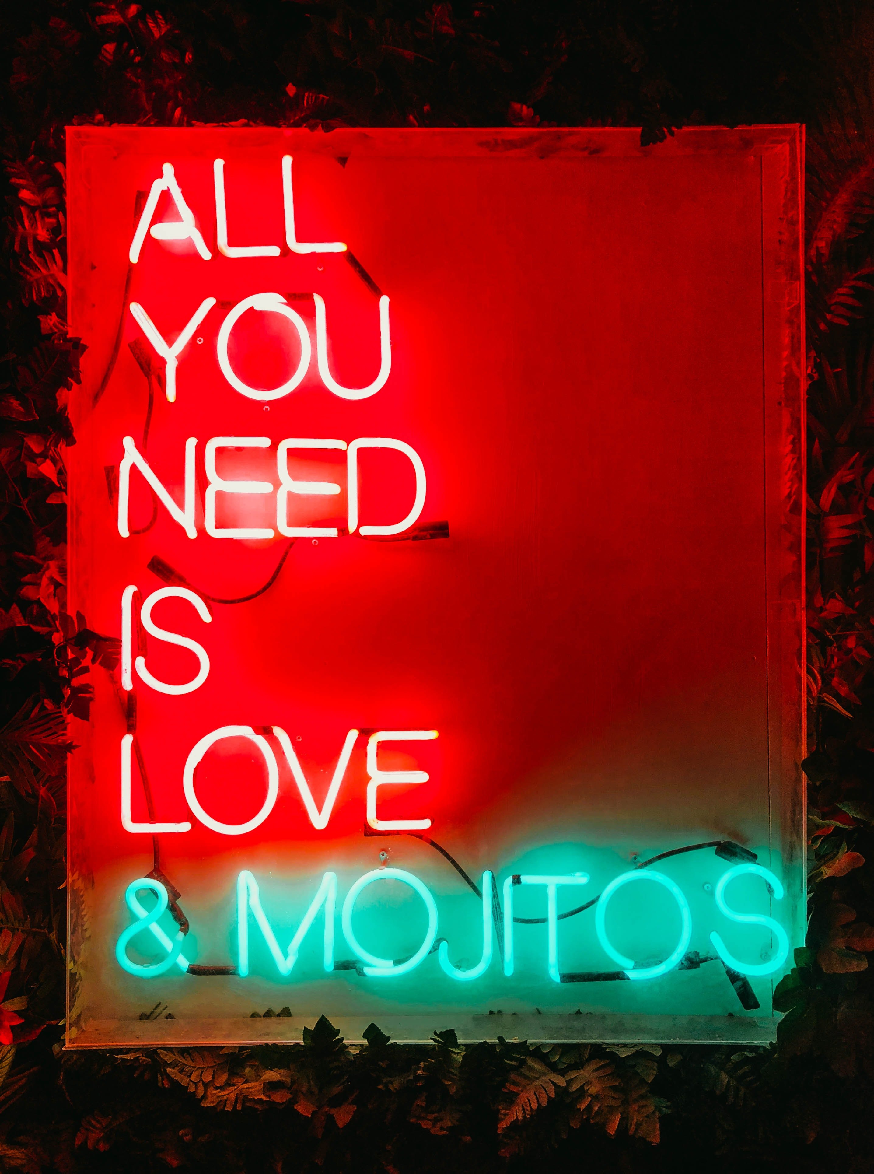 red and green all you need is love and mojitos neon sign