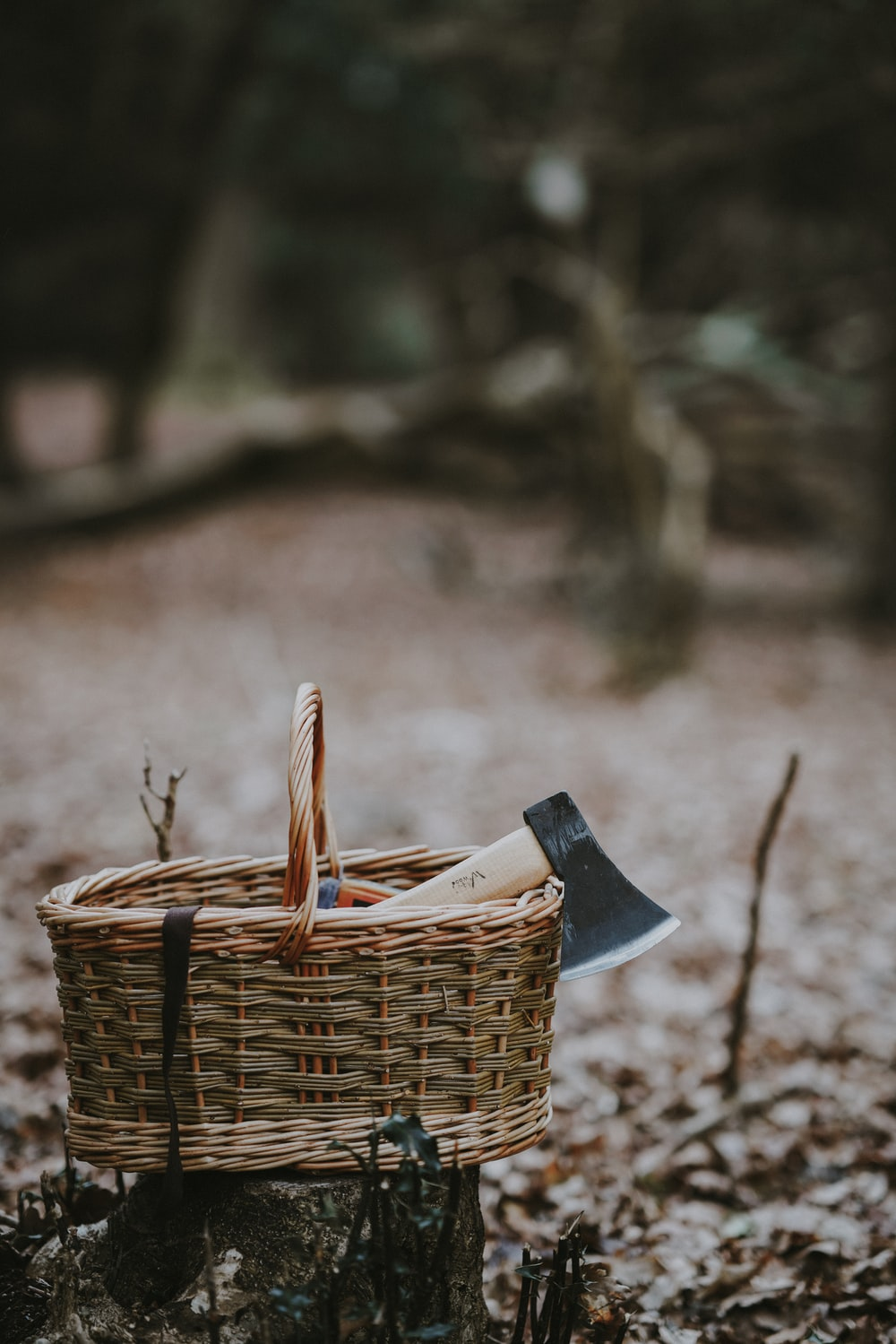 selective focus photo of brown wicker basket with axe inside