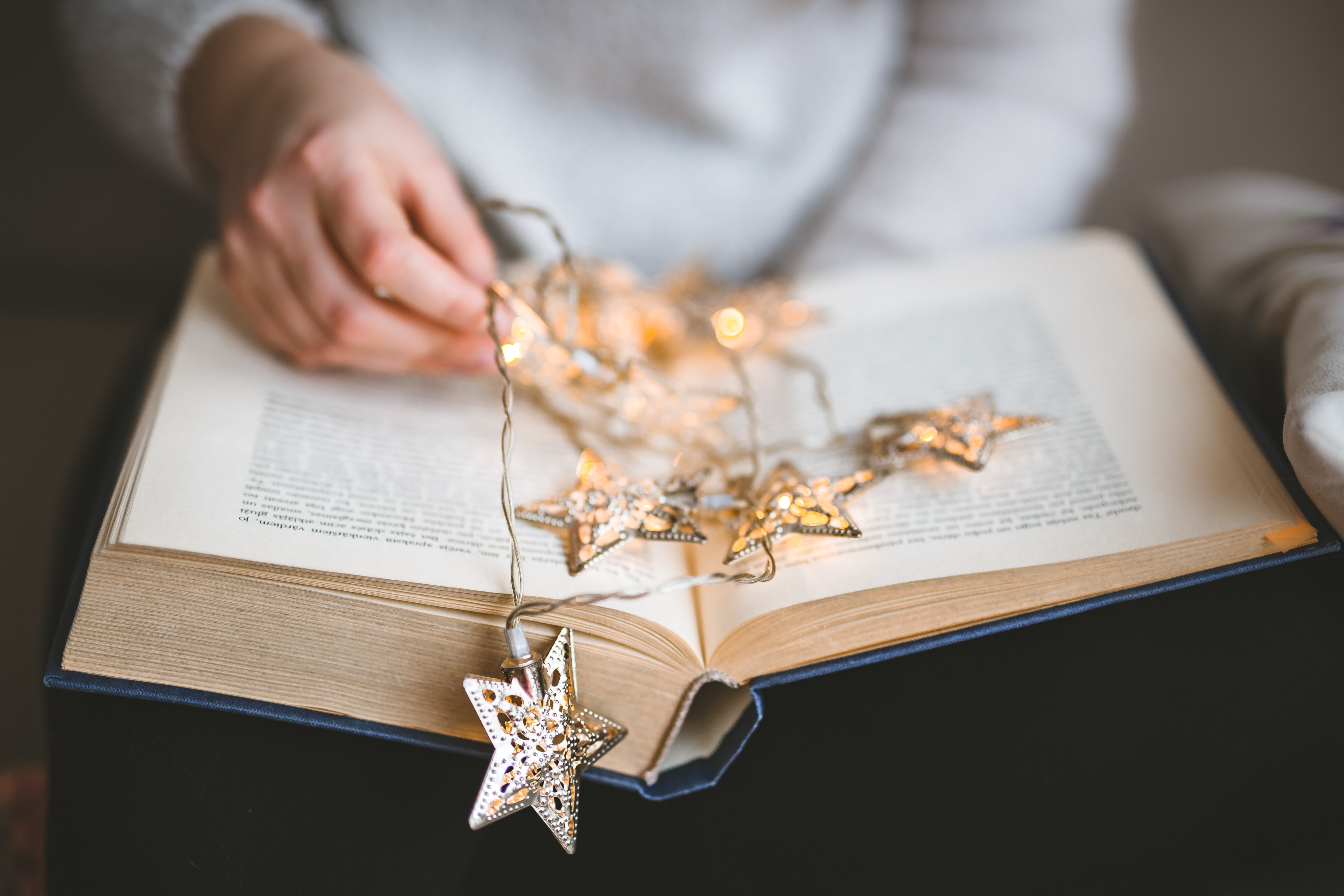 brown star string lights on book