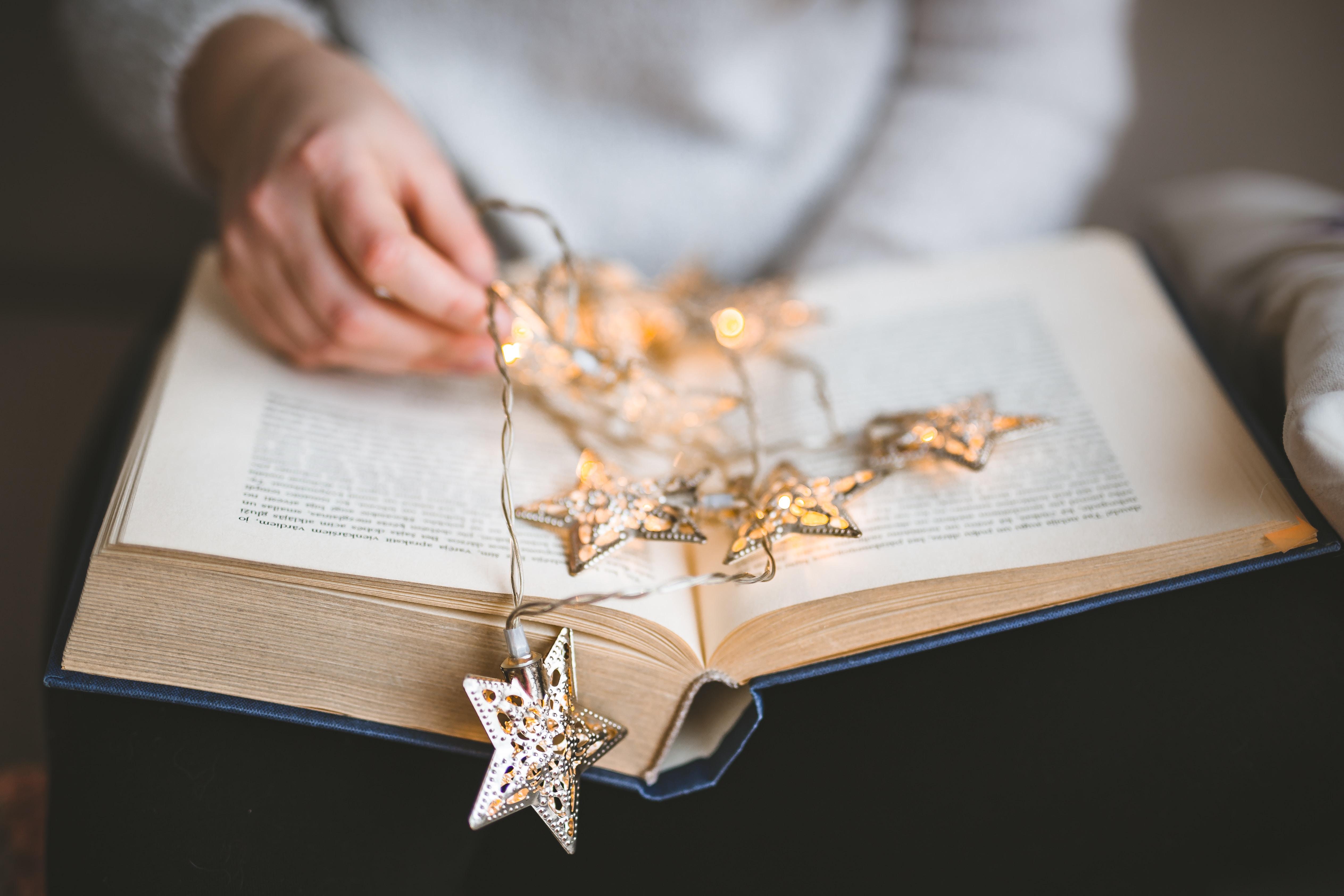 brown star string lights on book