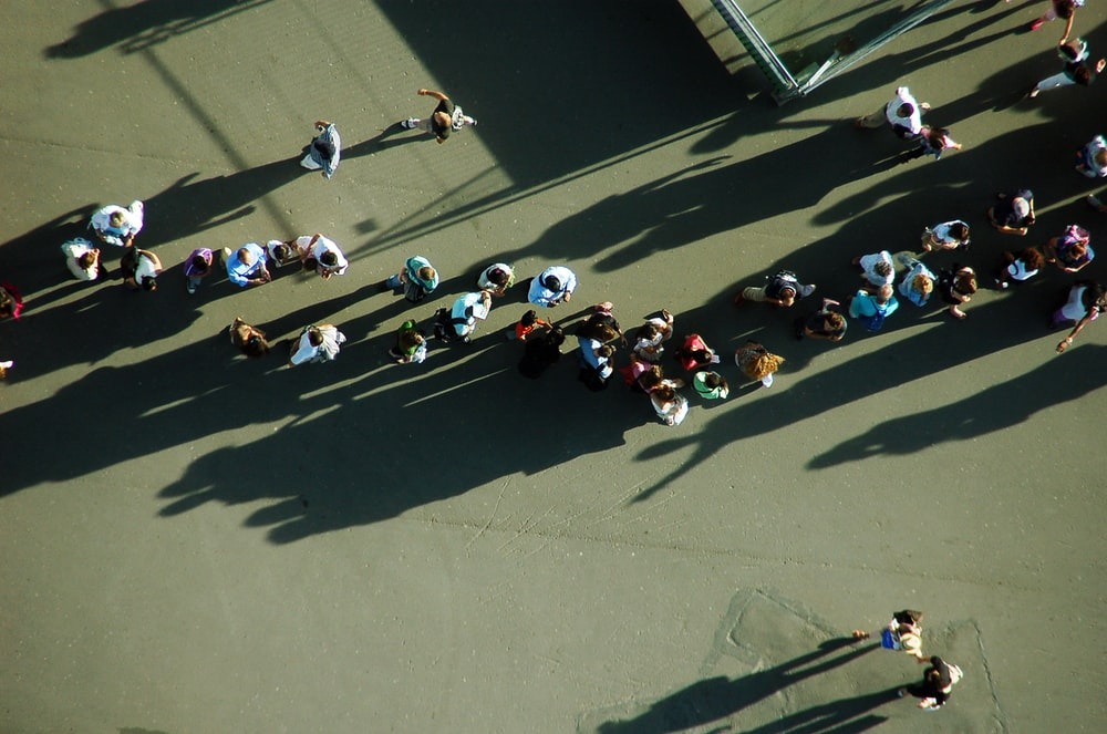 aerial photography of people