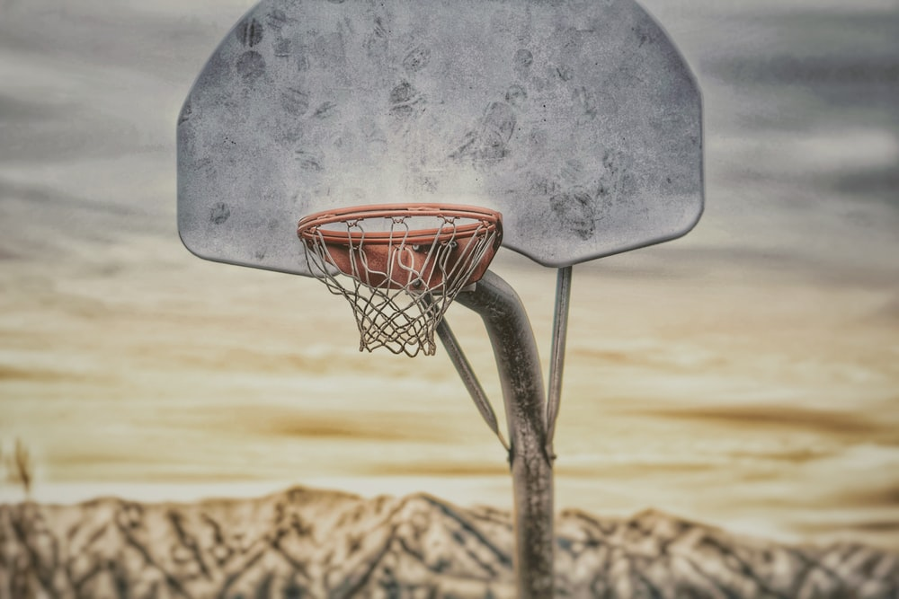 gray basketball hoop