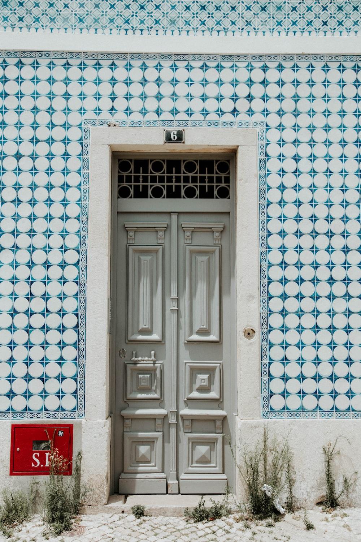 gray wooden door